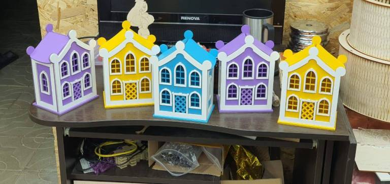 Laser Cut House Lamp Free DXF File