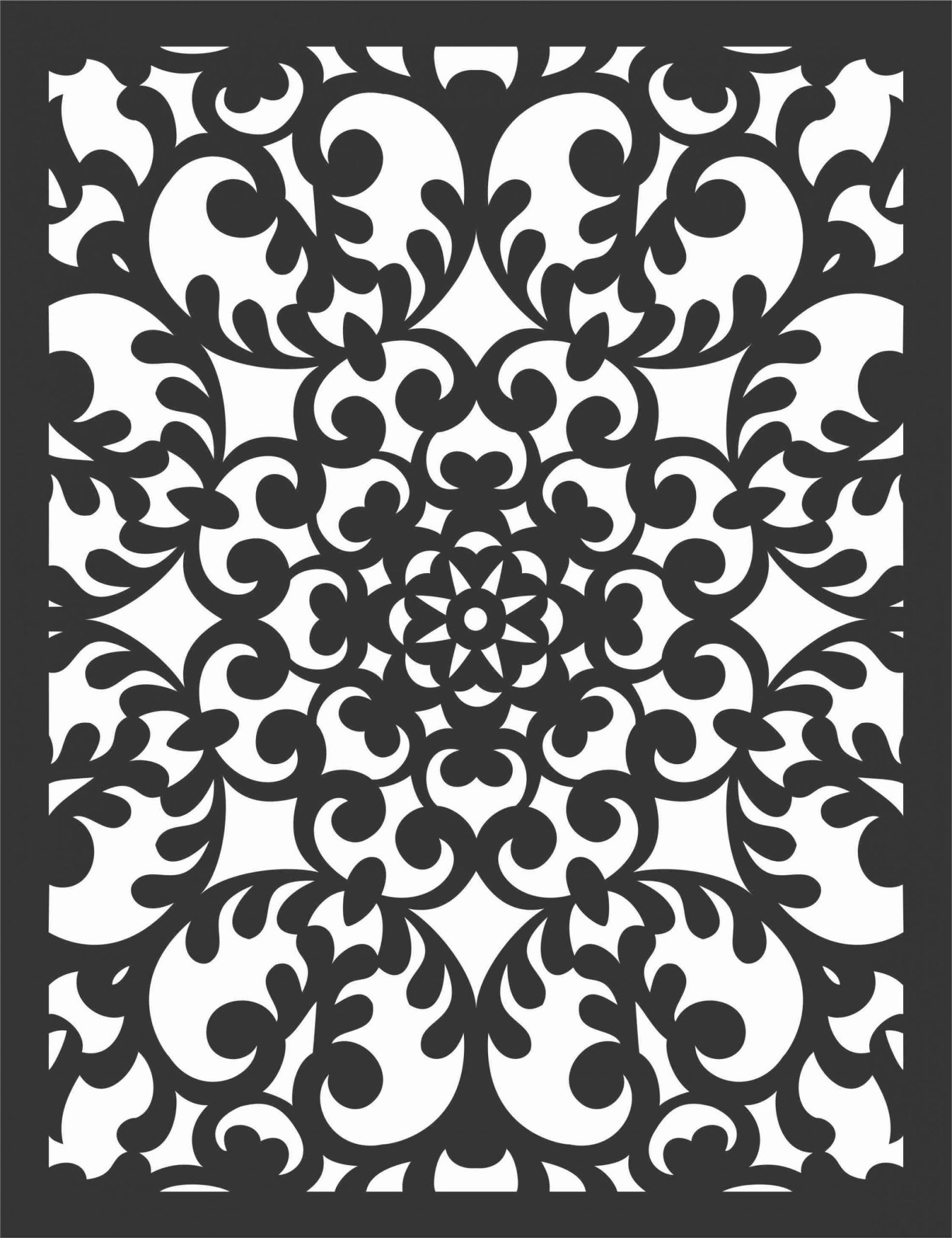 Floral Screen Patterns Design 7 Free DXF File