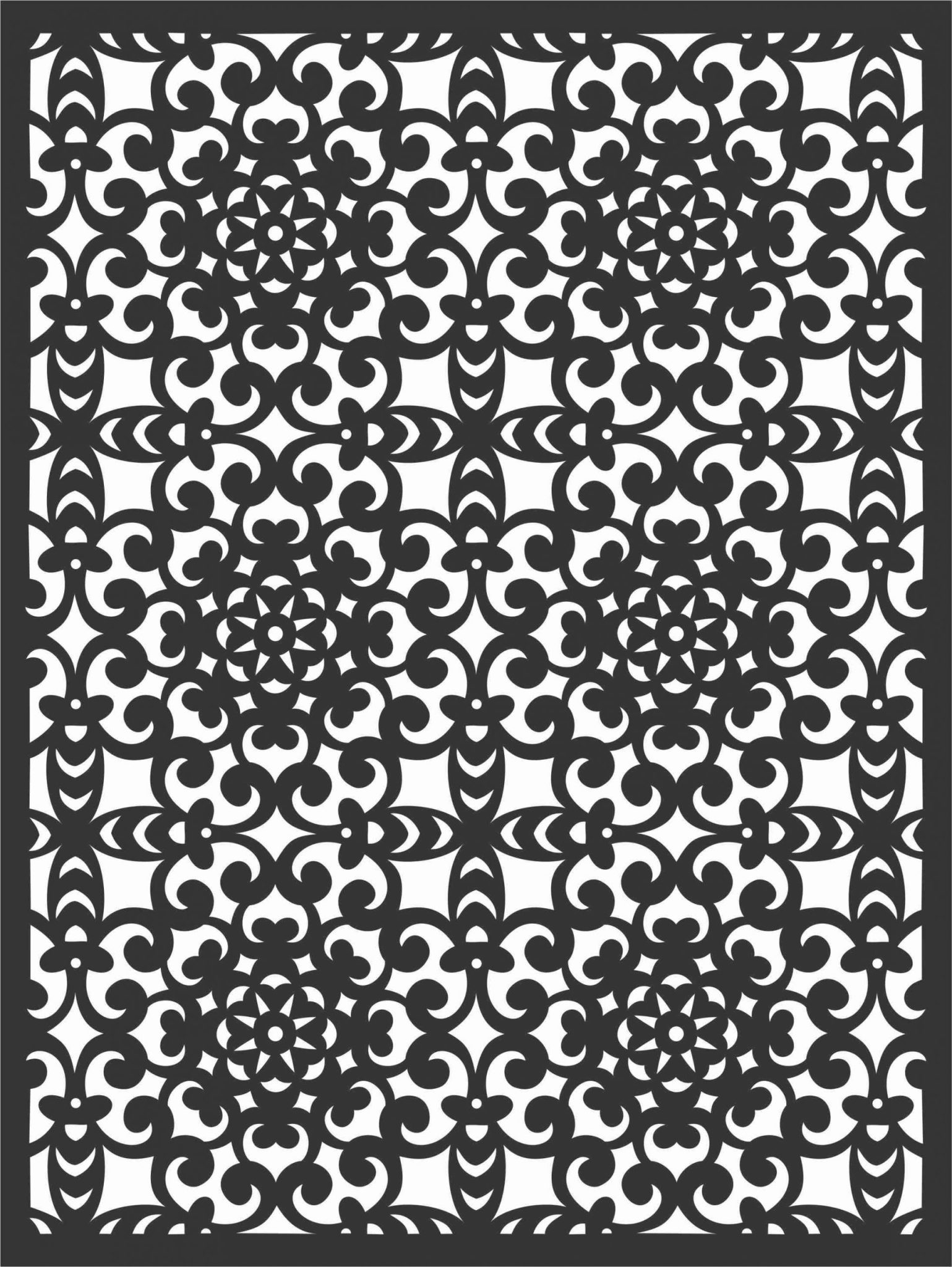 Floral Screen Patterns Design 8 Free DXF File