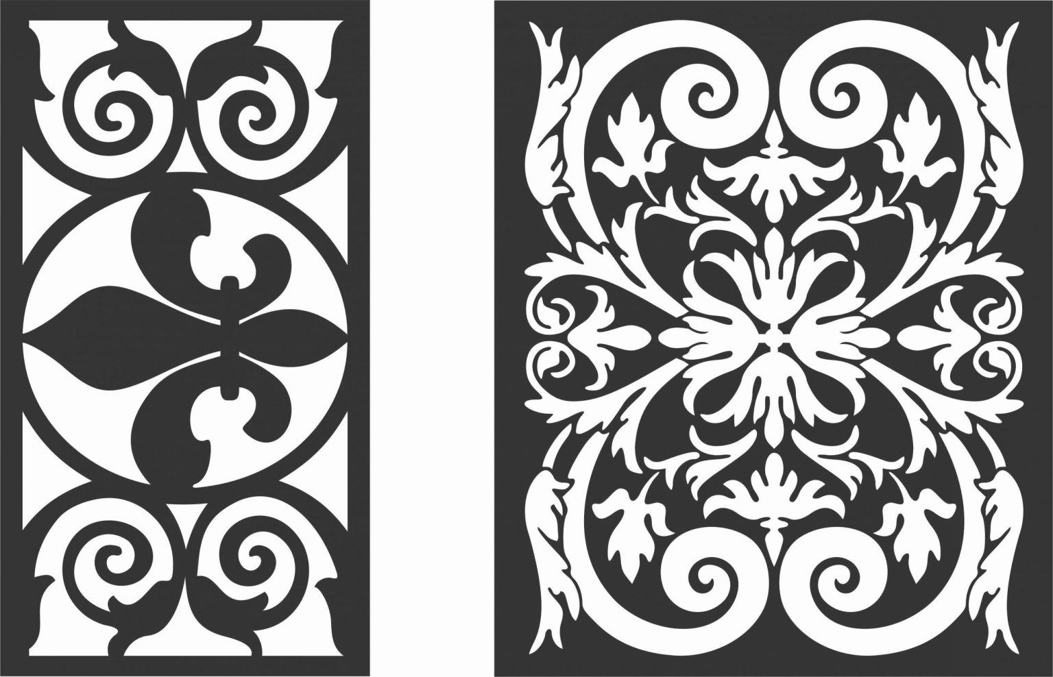 Floral Screen Patterns Design 24 Free DXF File