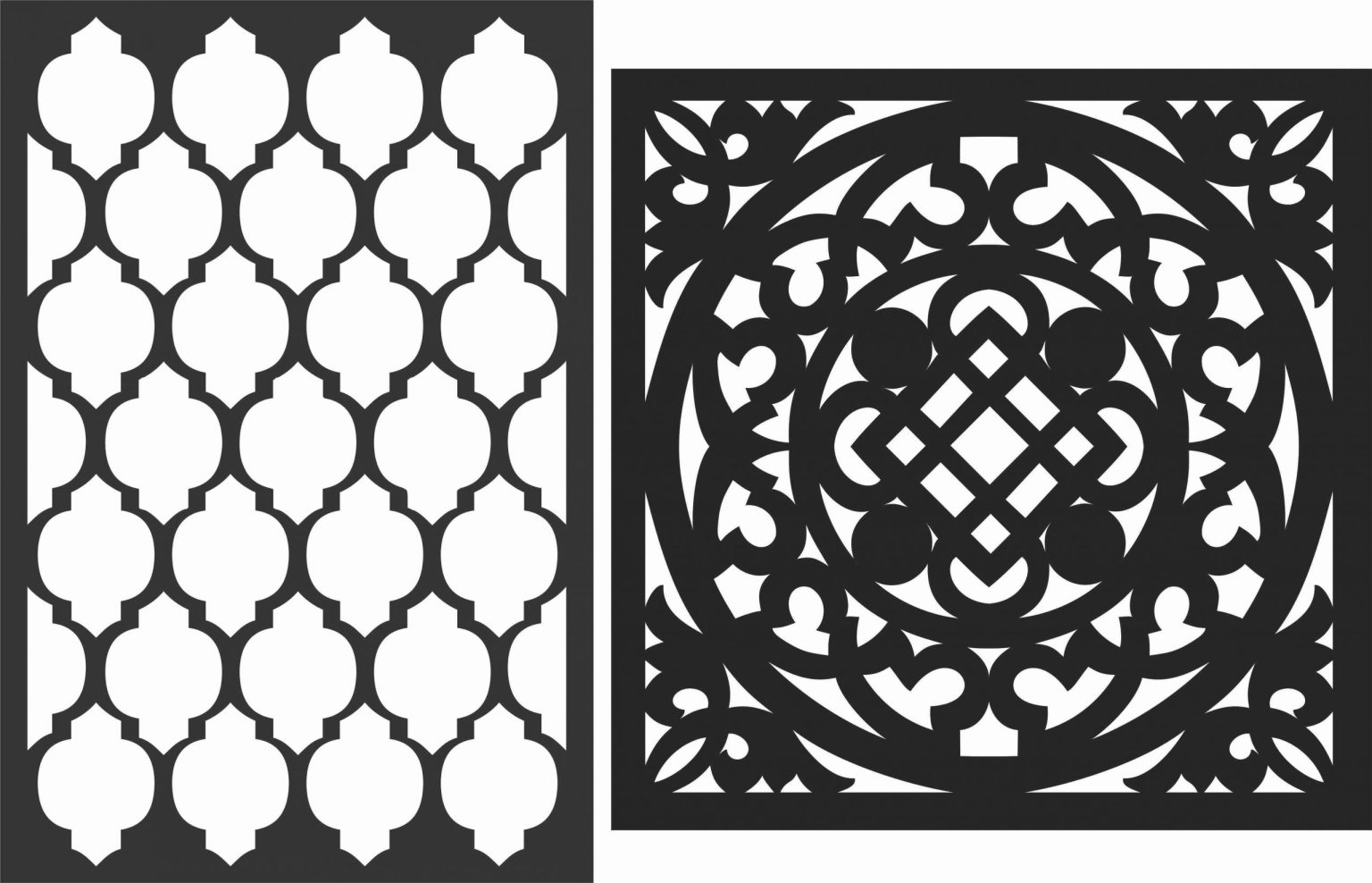 Floral Screen Patterns Design 27 Free DXF File