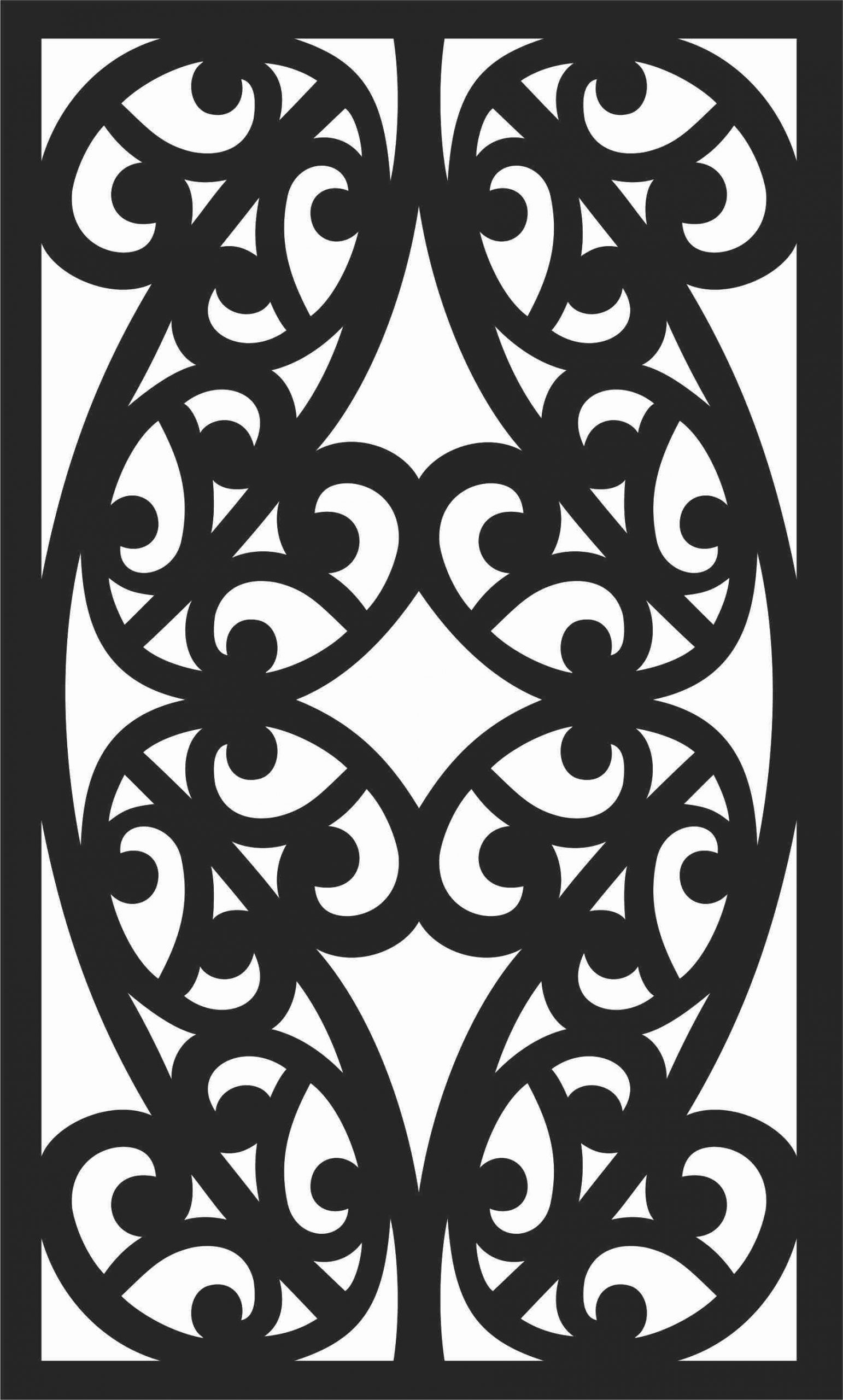 Floral Screen Patterns Design 28 Free DXF File