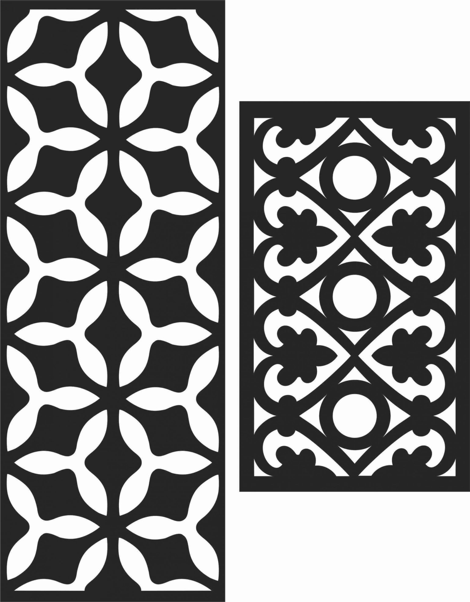 Floral Screen Patterns Design 37 Free DXF File