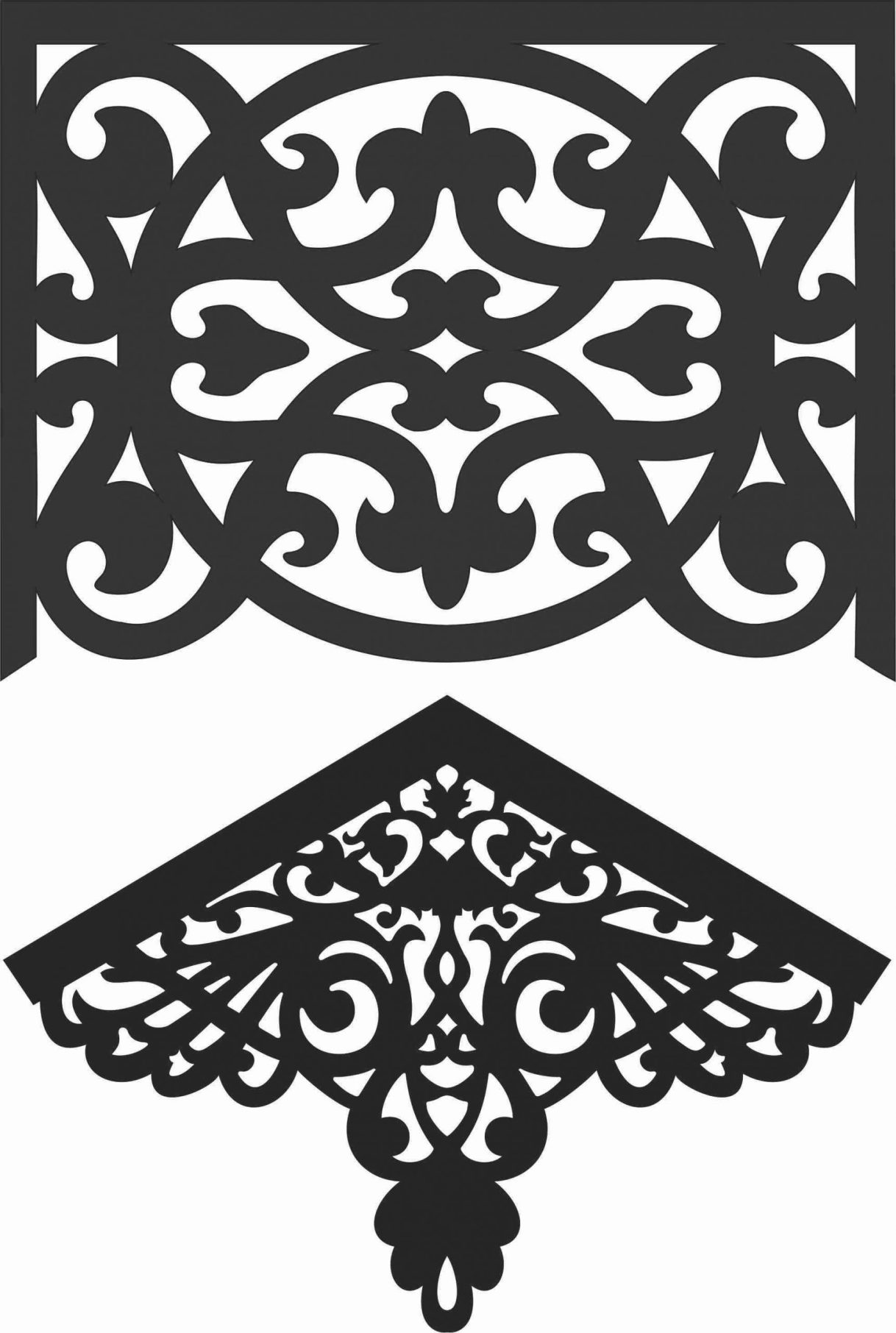 Floral Screen Patterns Design 40 Free DXF File
