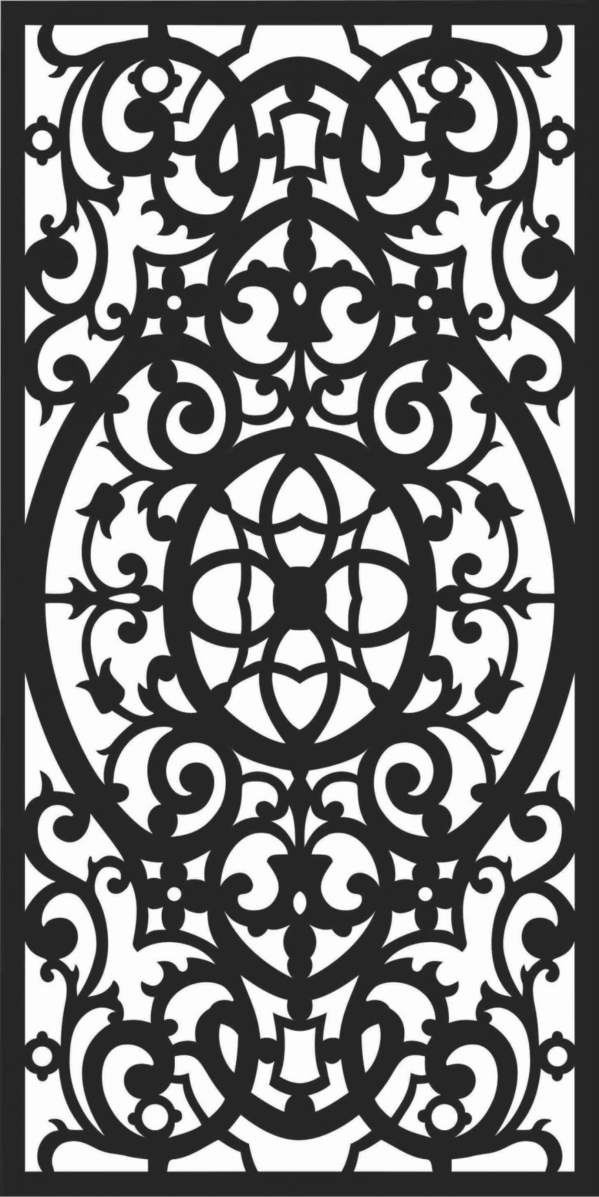 Floral Screen Patterns Design 41 Free DXF File