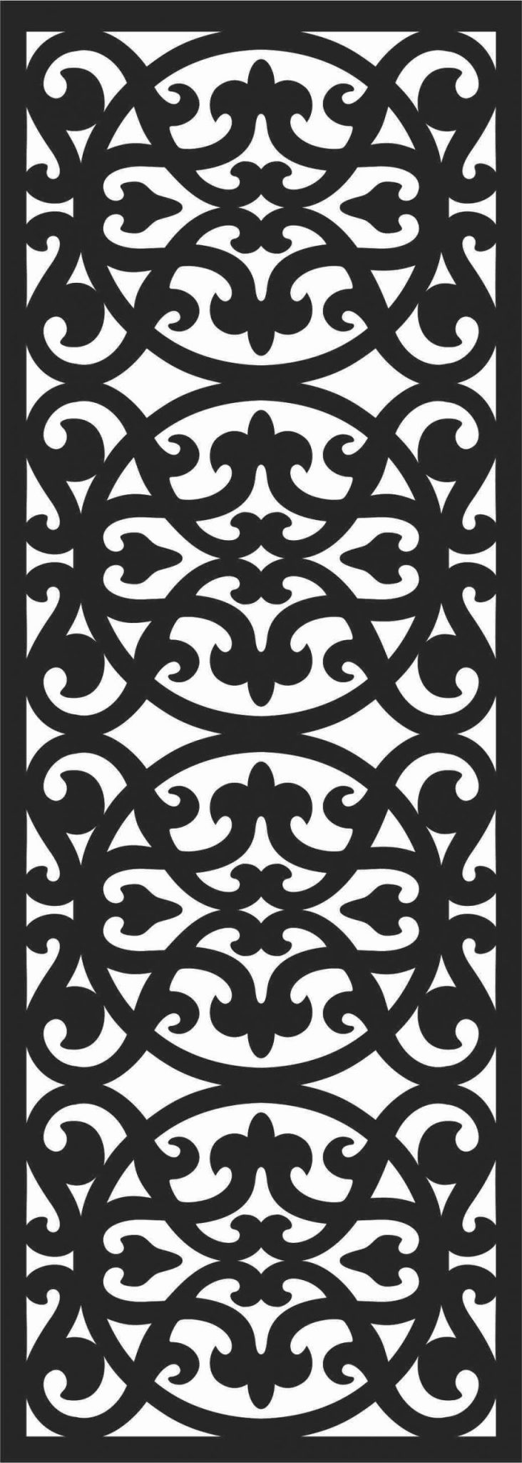 Floral Screen Patterns Design 43 Free DXF File