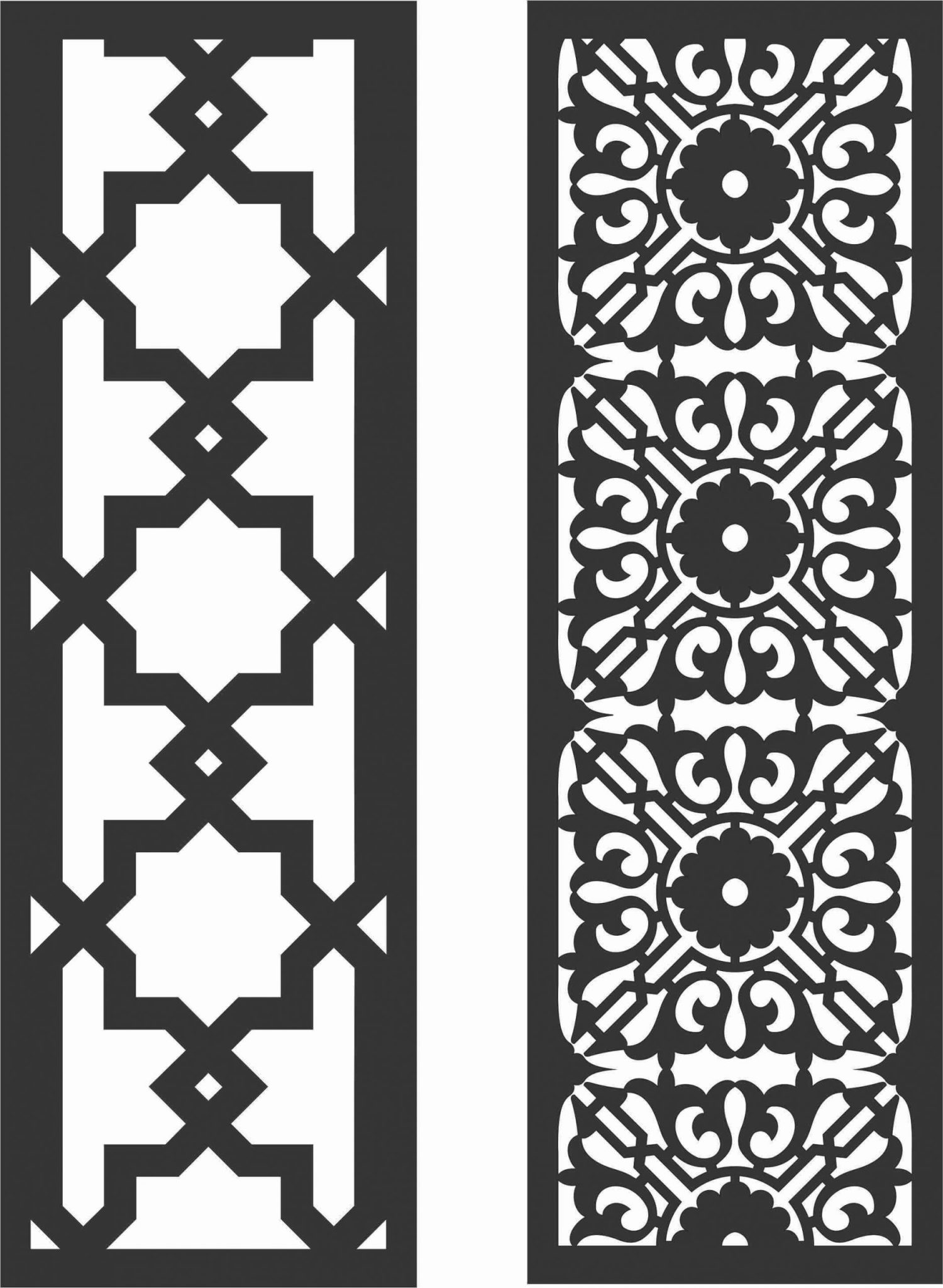 Floral Screen Patterns Design 46 Free DXF File