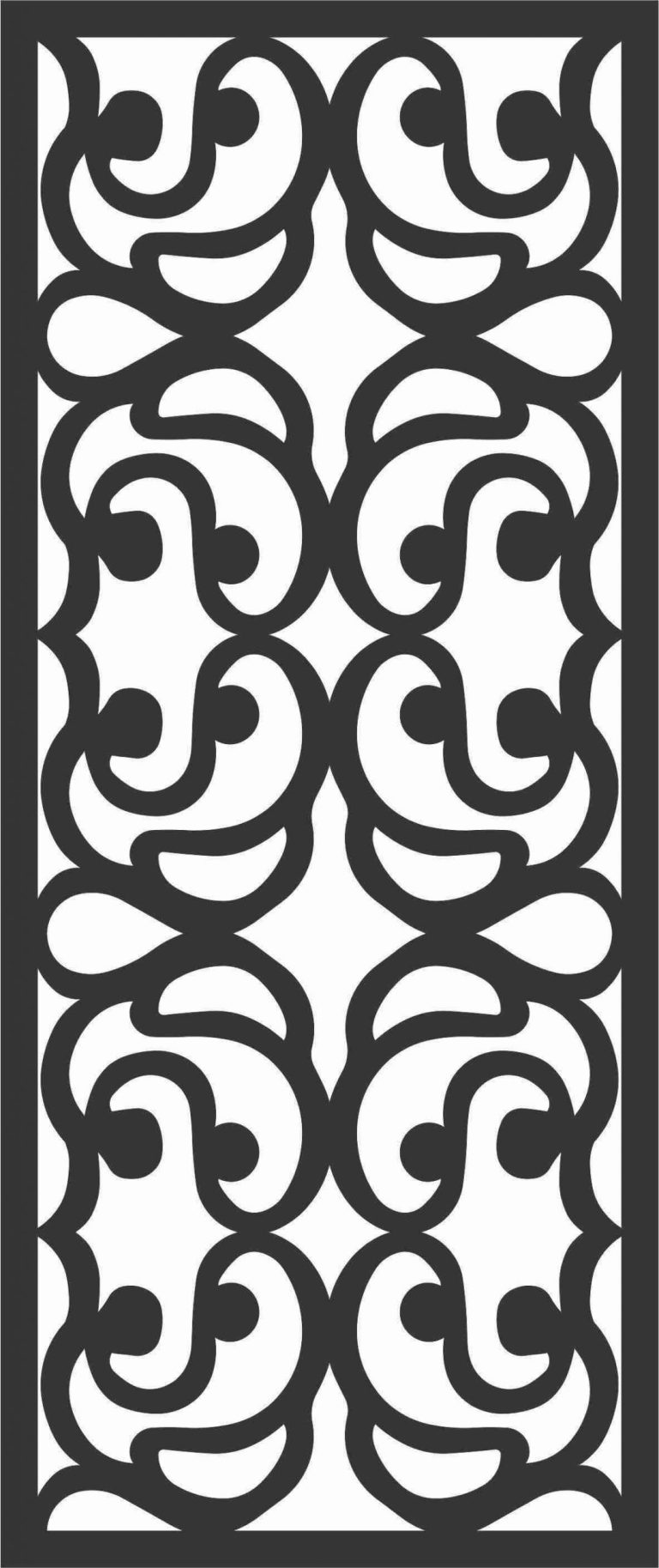 Floral Screen Patterns Design 51 Free DXF File