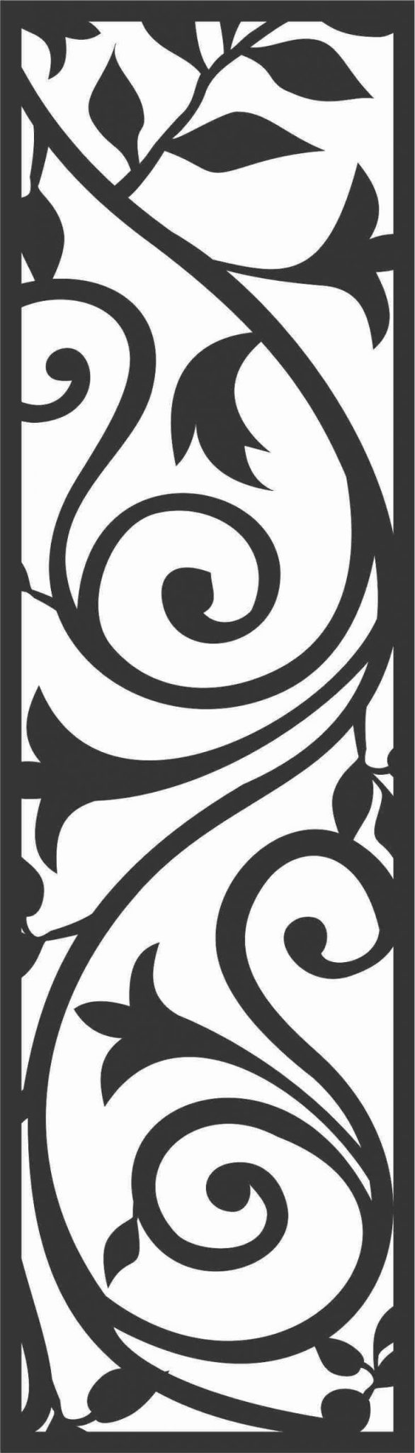 Floral Screen Patterns Design 52 Free DXF File