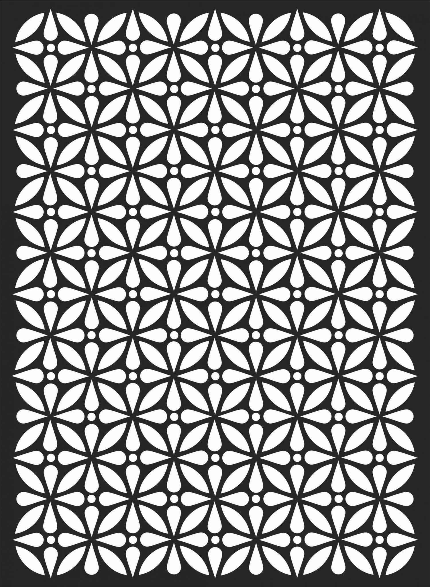 Floral Screen Patterns Design 62 Free DXF File