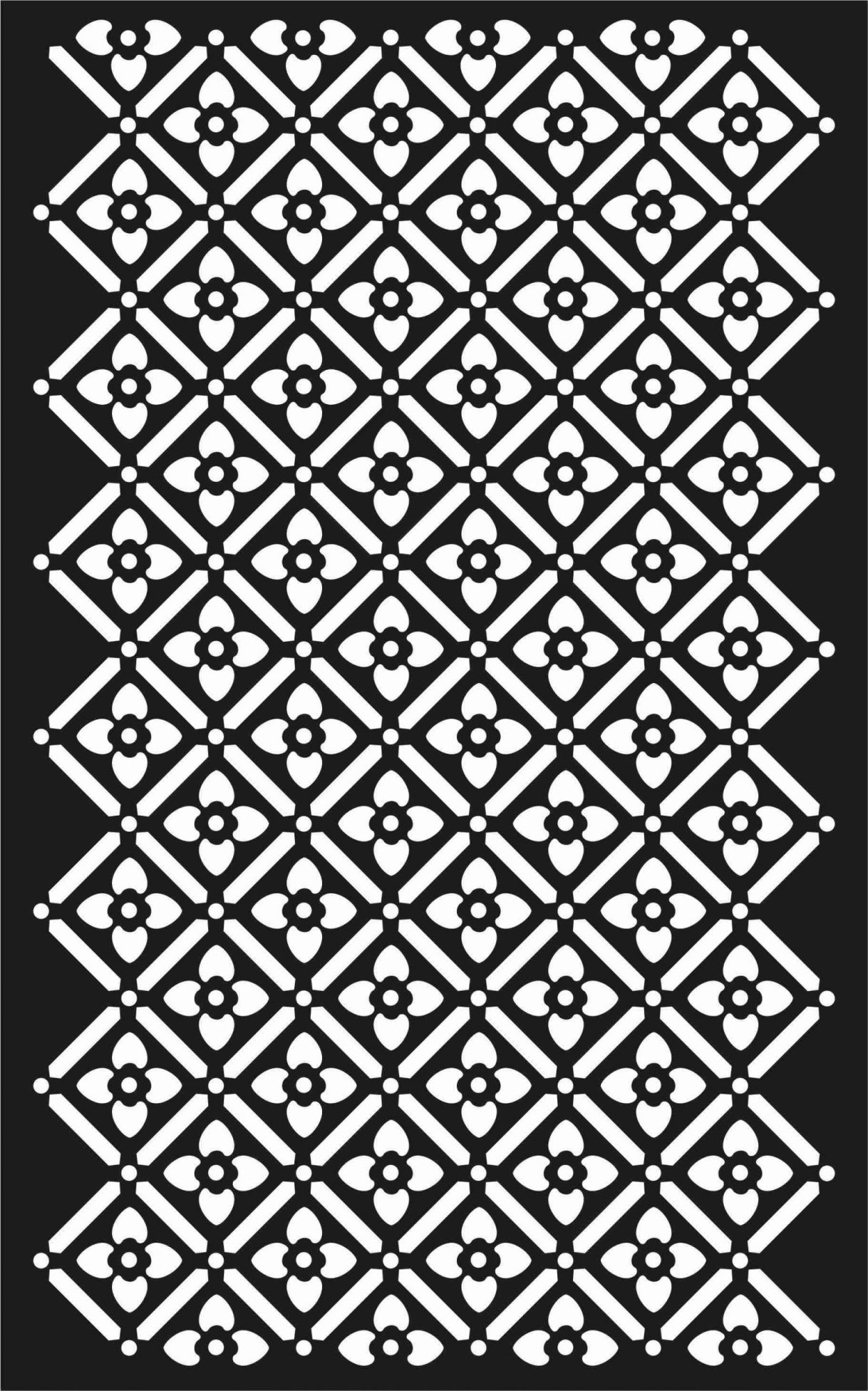 Floral Screen Patterns Design 64 Free DXF File