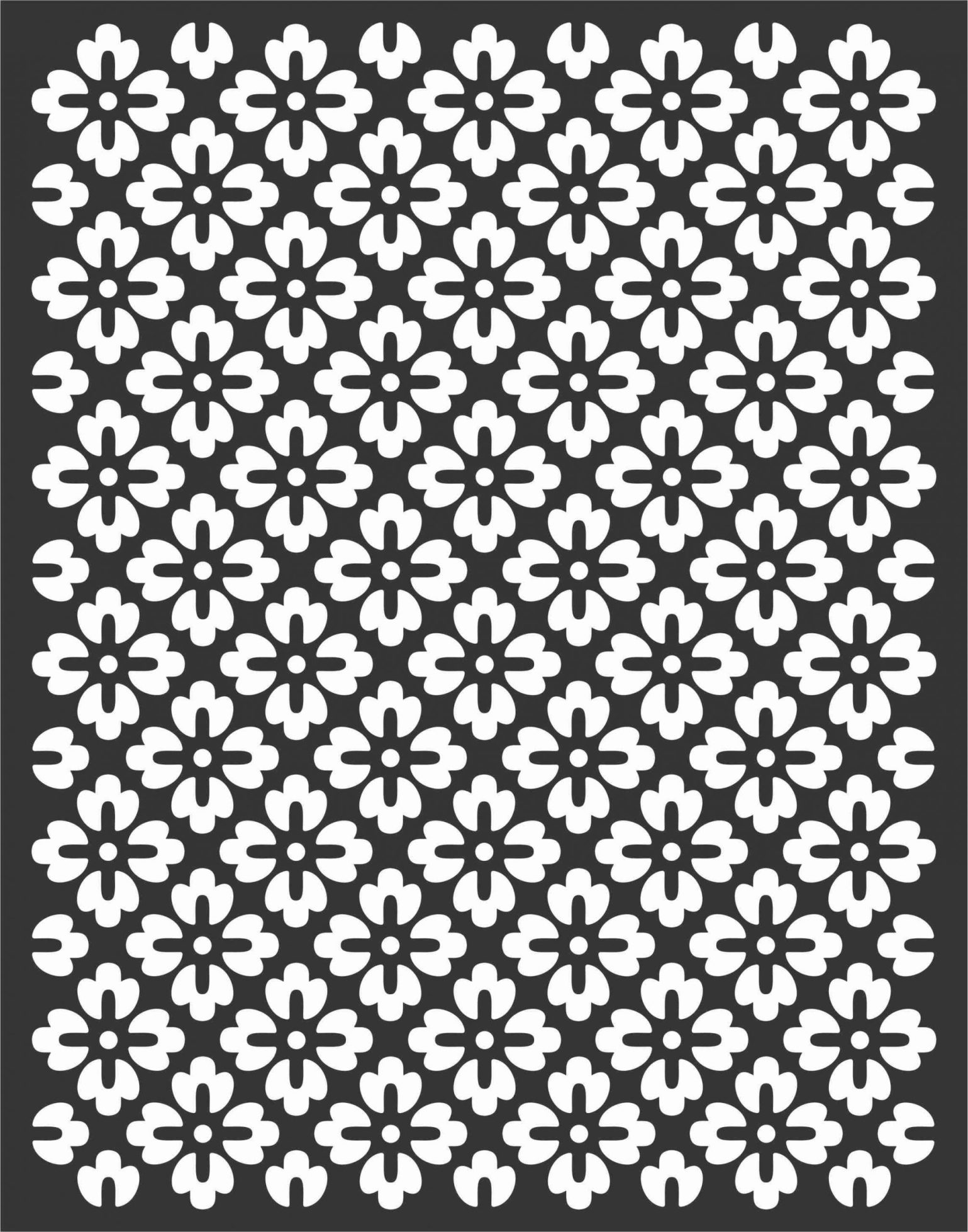 Floral Screen Patterns Design 68 Free DXF File