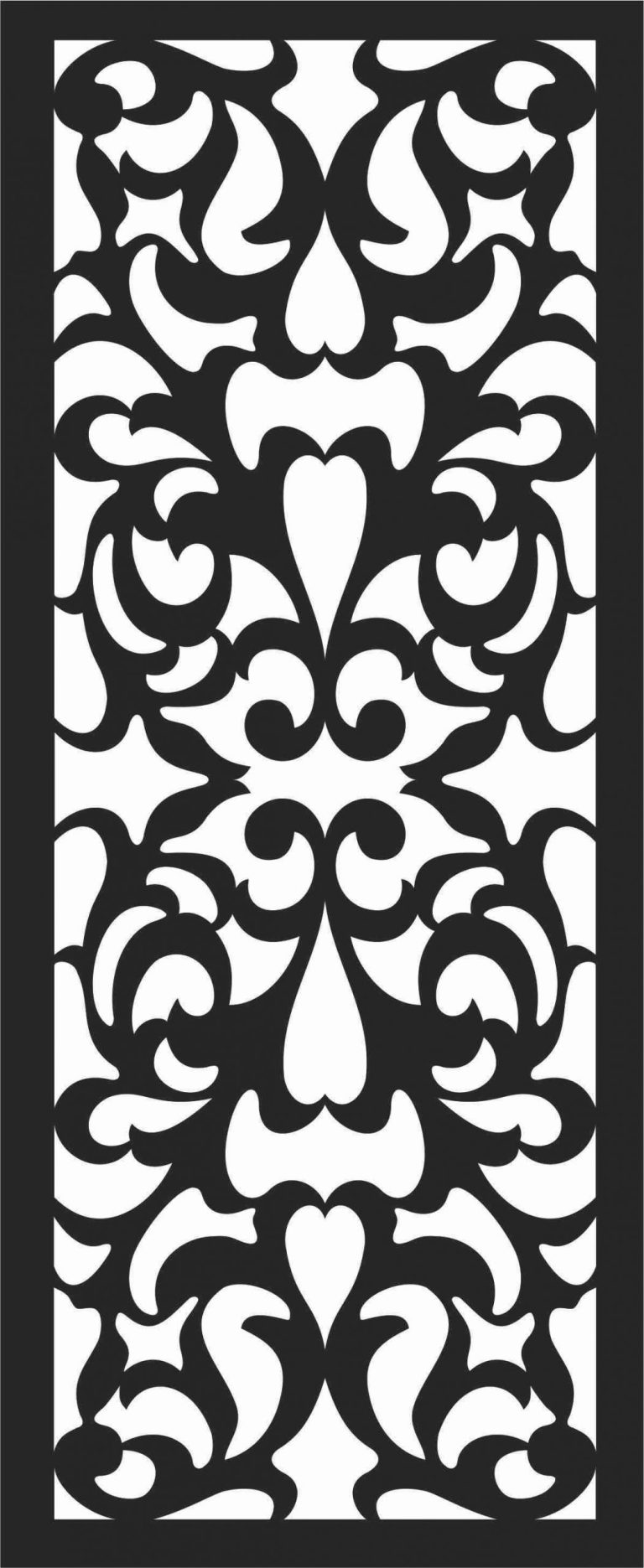 Floral Screen Patterns Design 70 Free DXF File