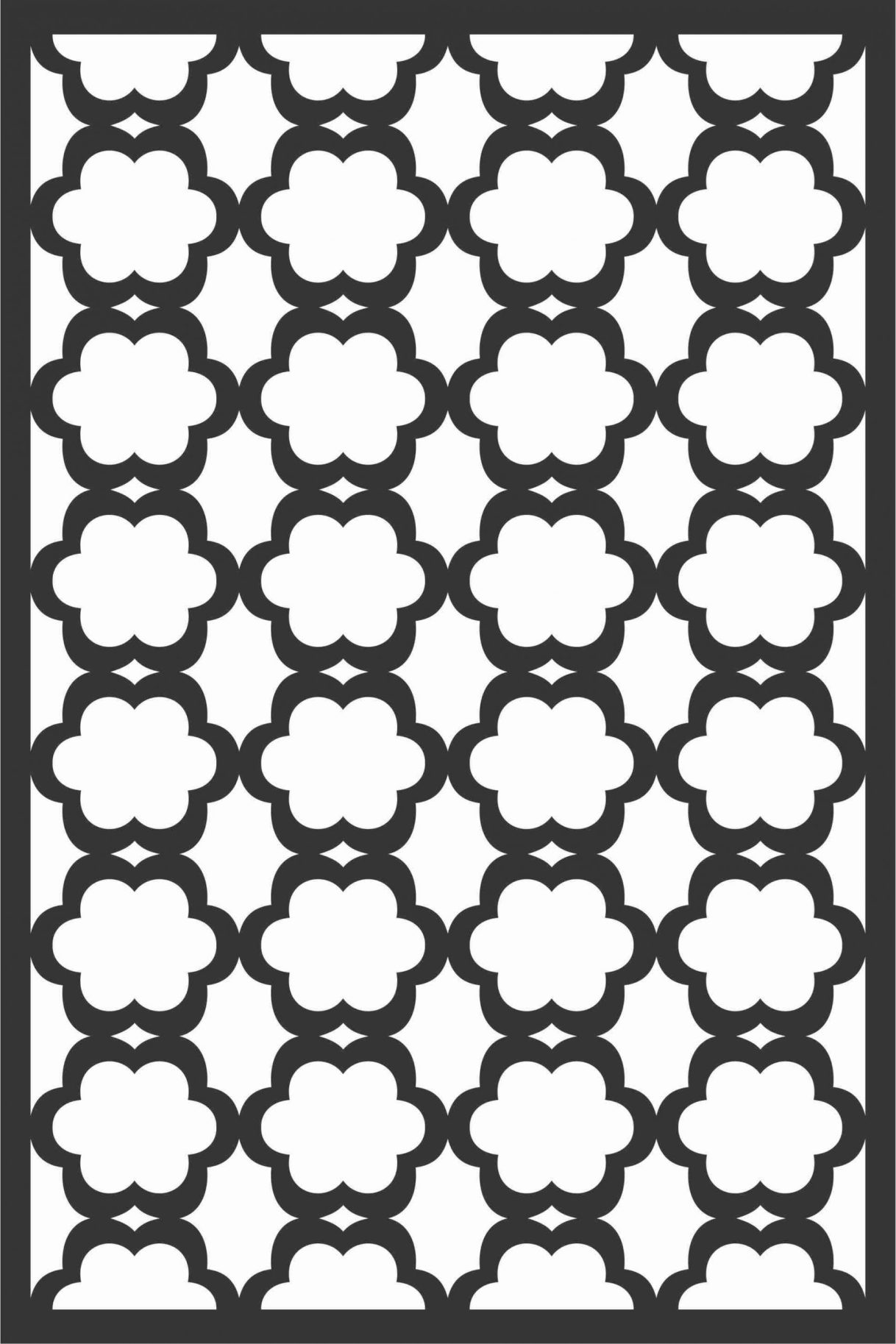 Floral Screen Patterns Design 71 Free DXF File