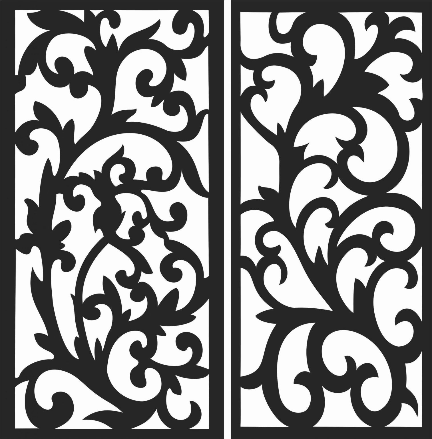 Floral Screen Patterns Design 74 Free DXF File