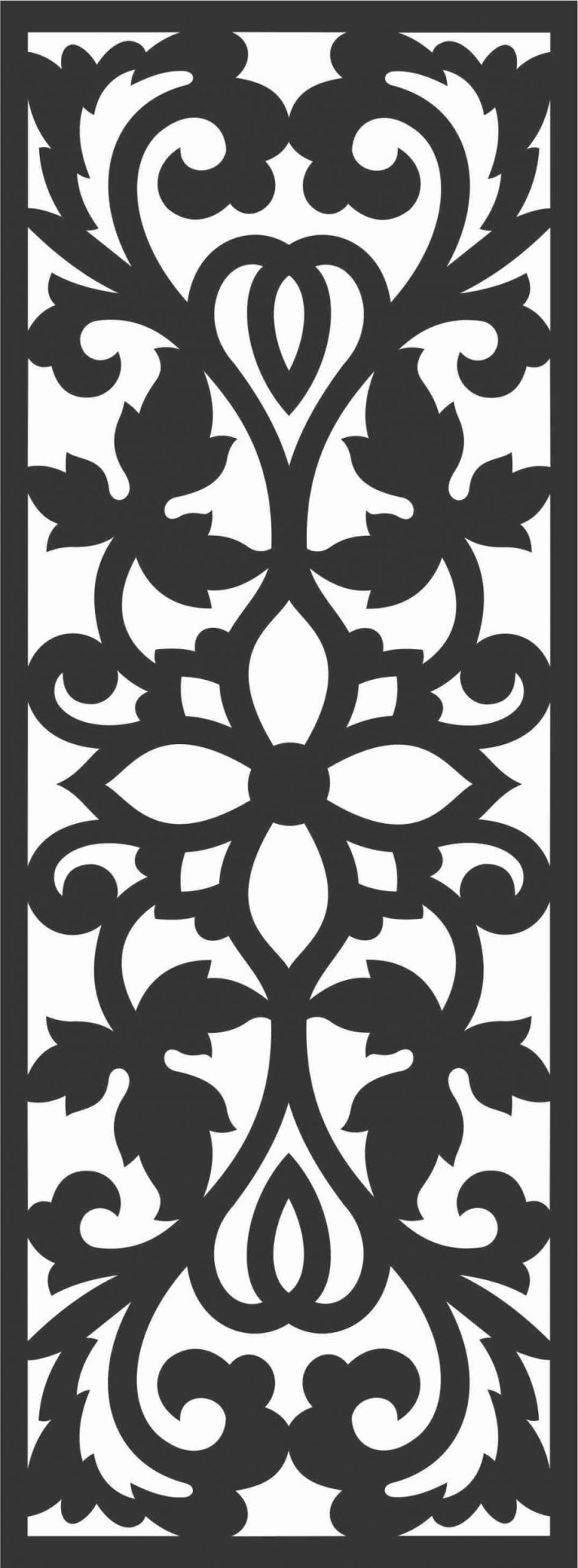 Floral Screen Patterns Design 77 Free DXF File