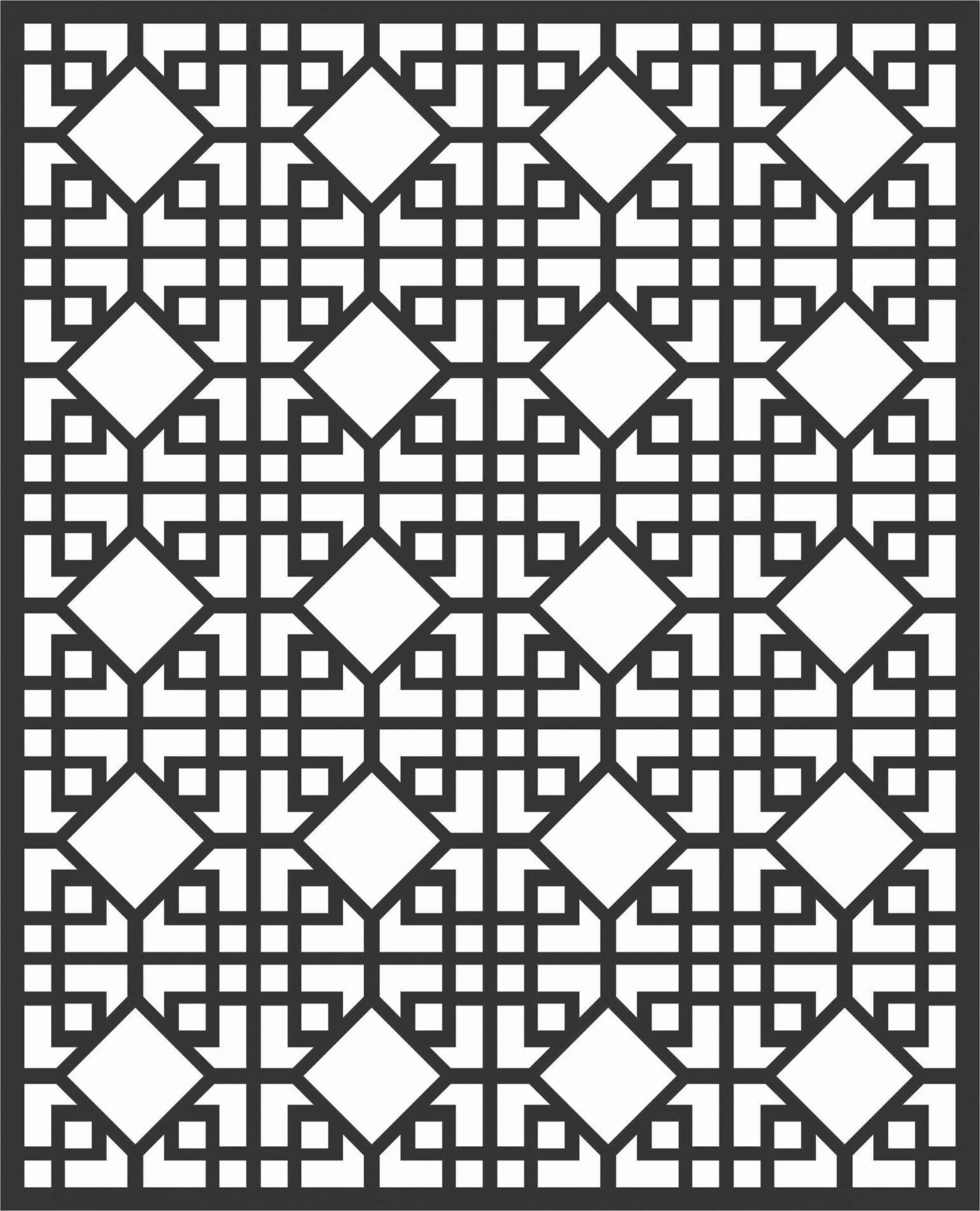 Floral Screen Patterns Design 78 Free DXF File