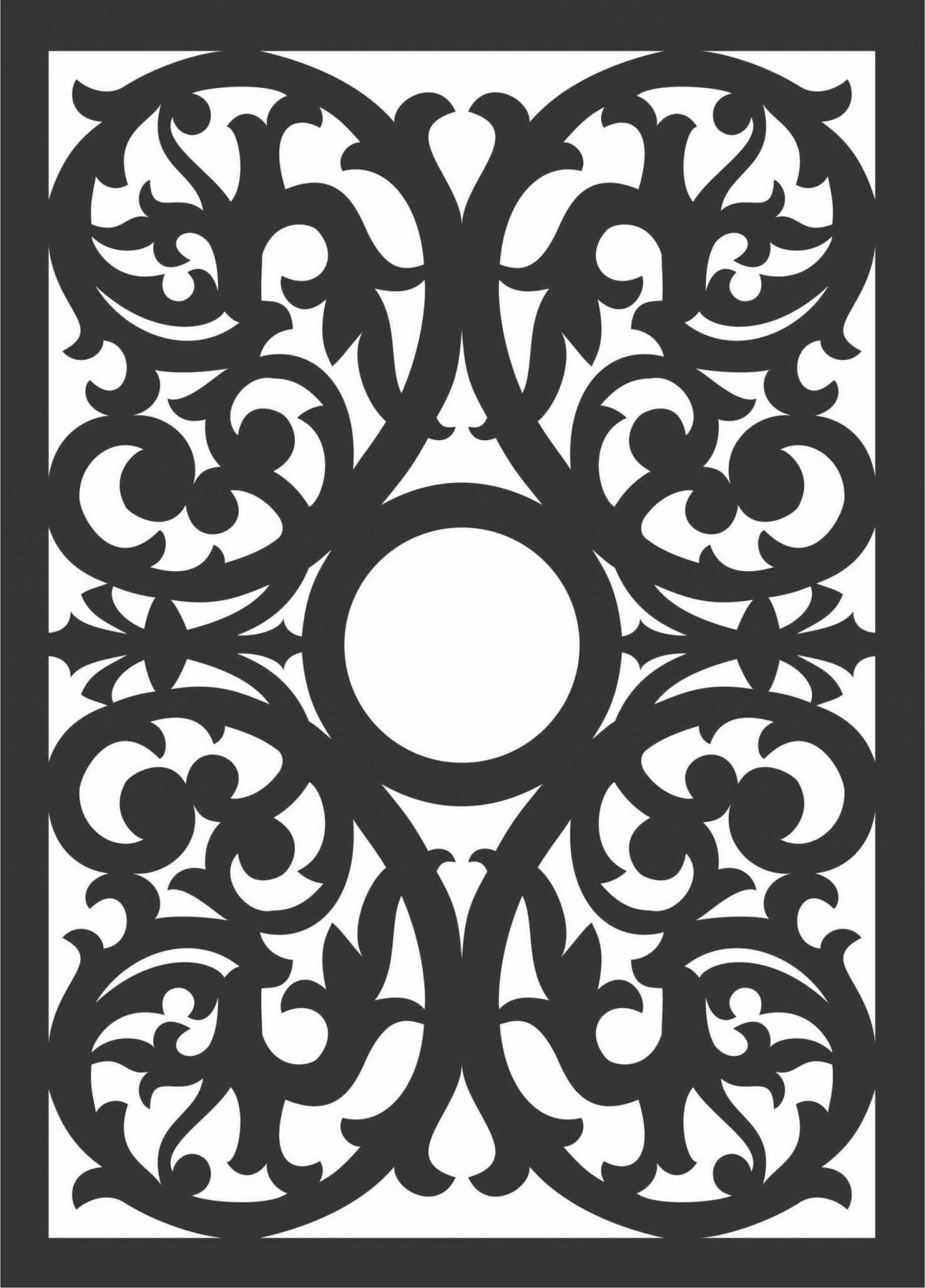 Floral Screen Patterns Design 90 Free DXF File