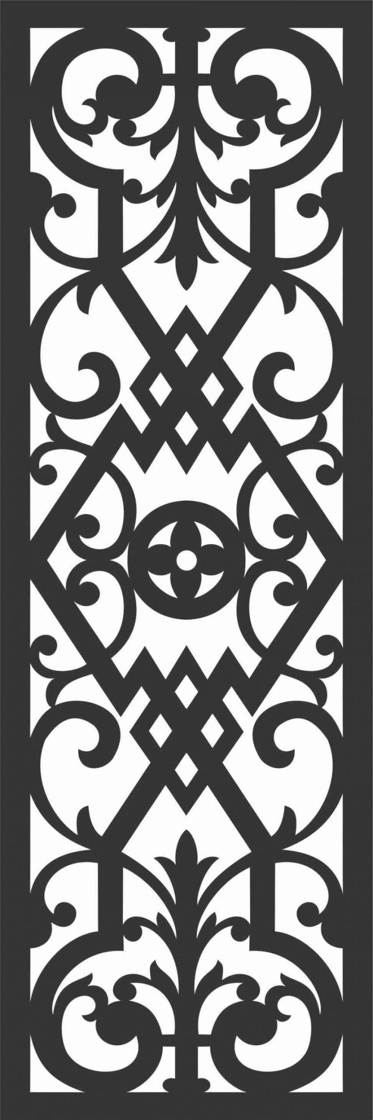 Floral Screen Patterns Design 92 Free DXF File