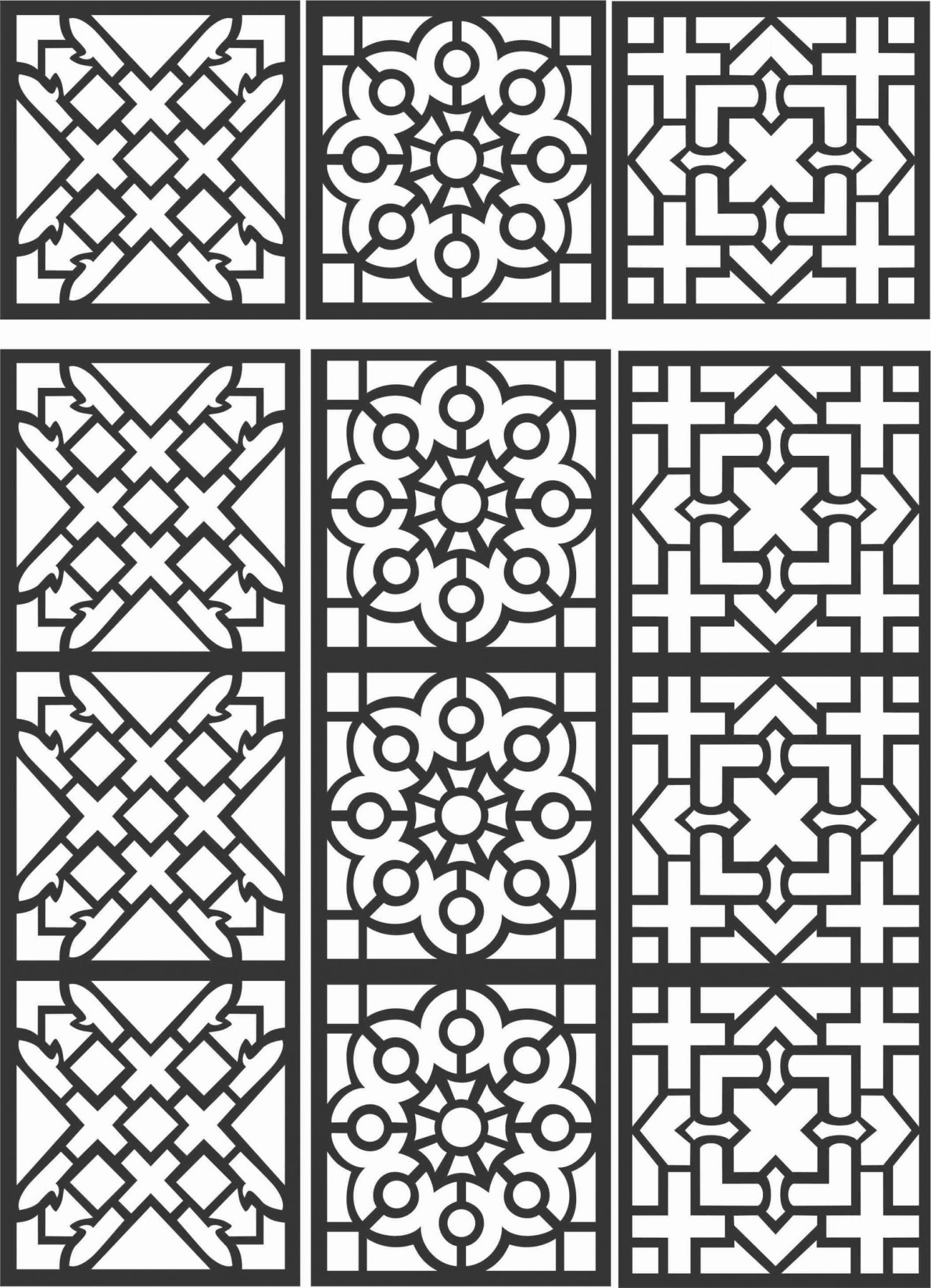 Floral Screen Patterns Design 97 Free DXF File