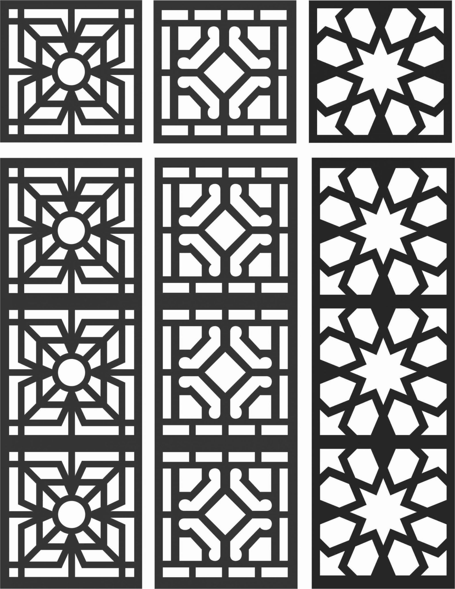 Floral Screen Patterns Design 99 Free DXF File