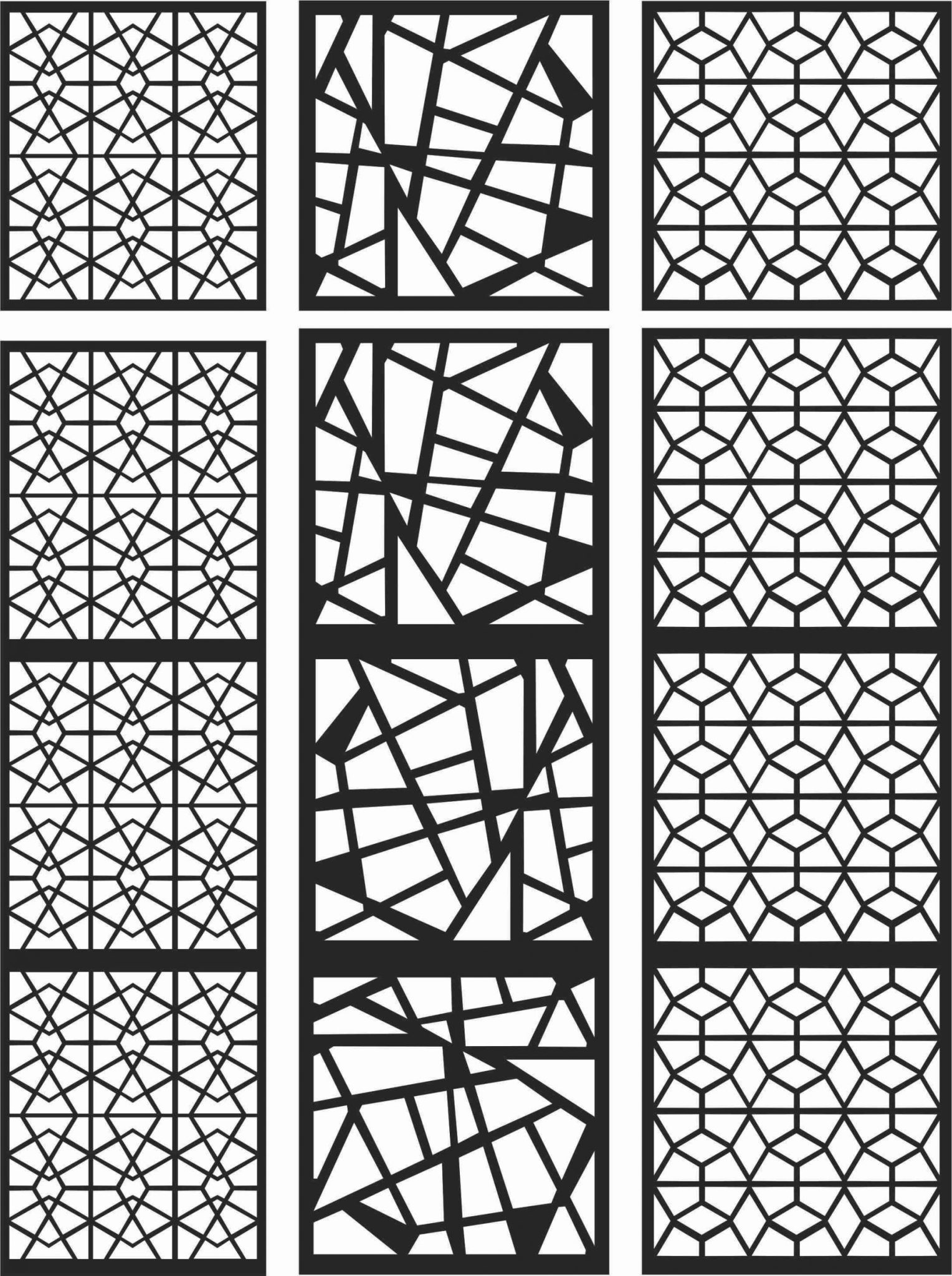 Floral Screen Patterns Design 102 Free DXF File