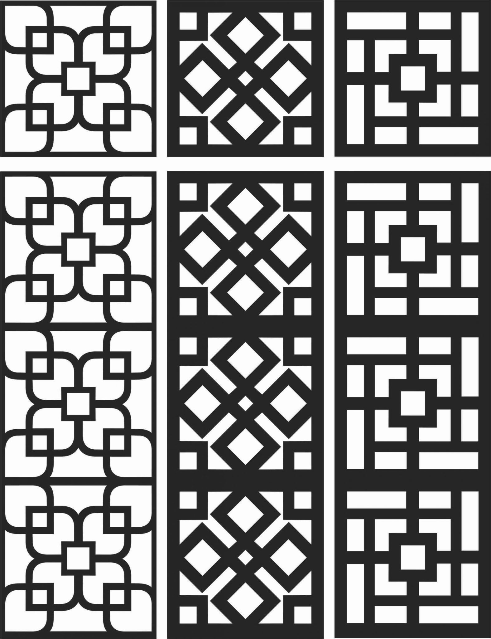 Floral Screen Patterns Design 104 Free DXF File