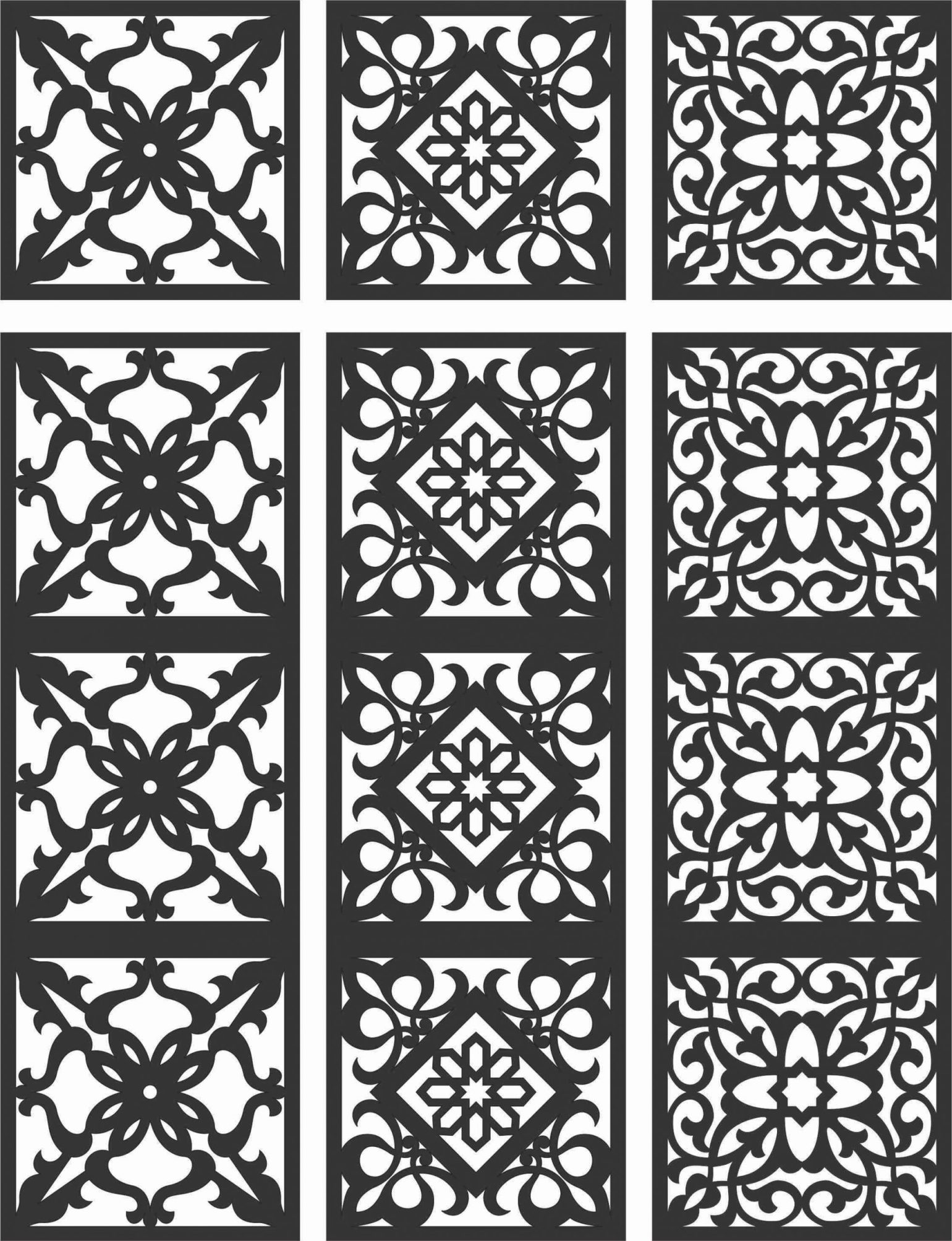 Floral Screen Patterns Design 111 Free DXF File