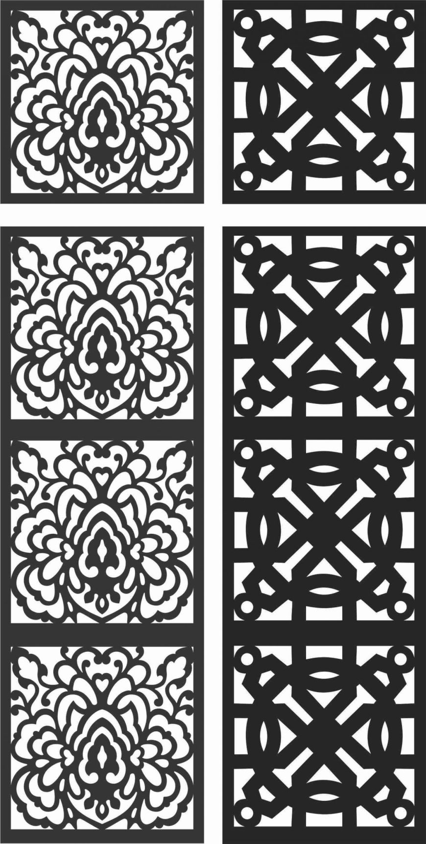 Floral Screen Patterns Design 118 Free DXF File