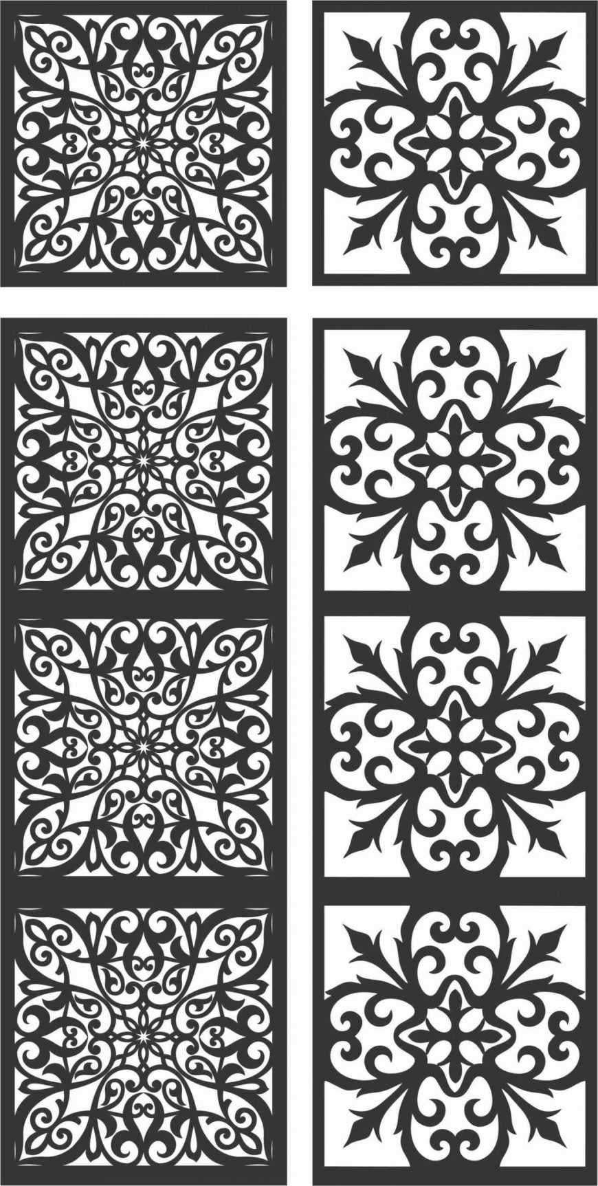 Floral Screen Patterns Design 119 Free DXF File