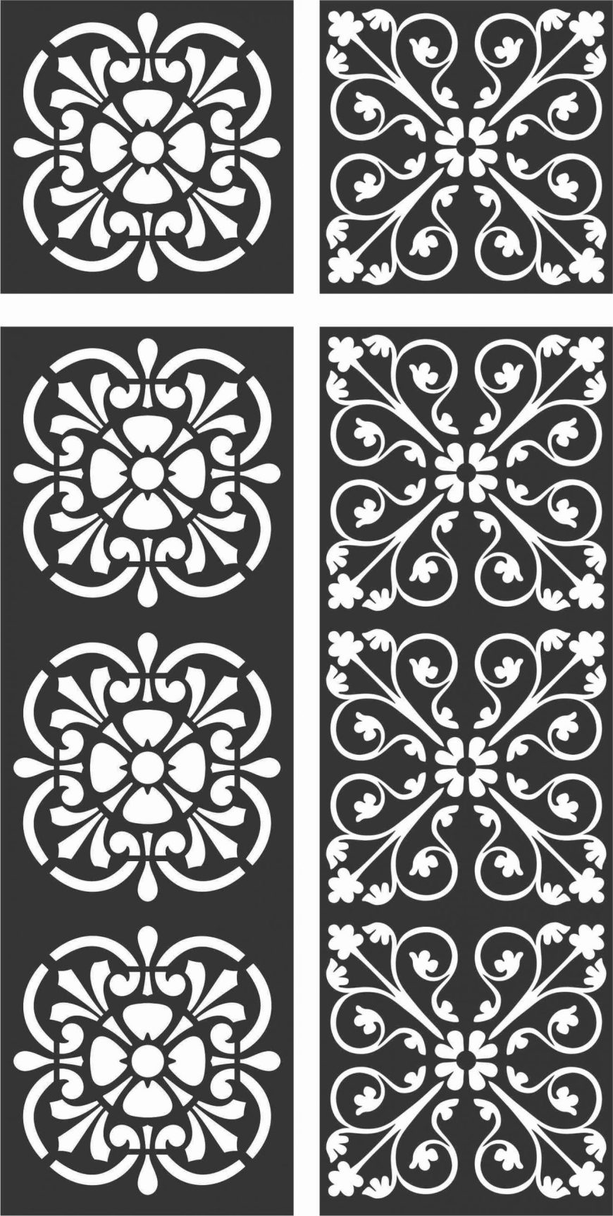 Floral Screen Patterns Design 121 Free DXF File