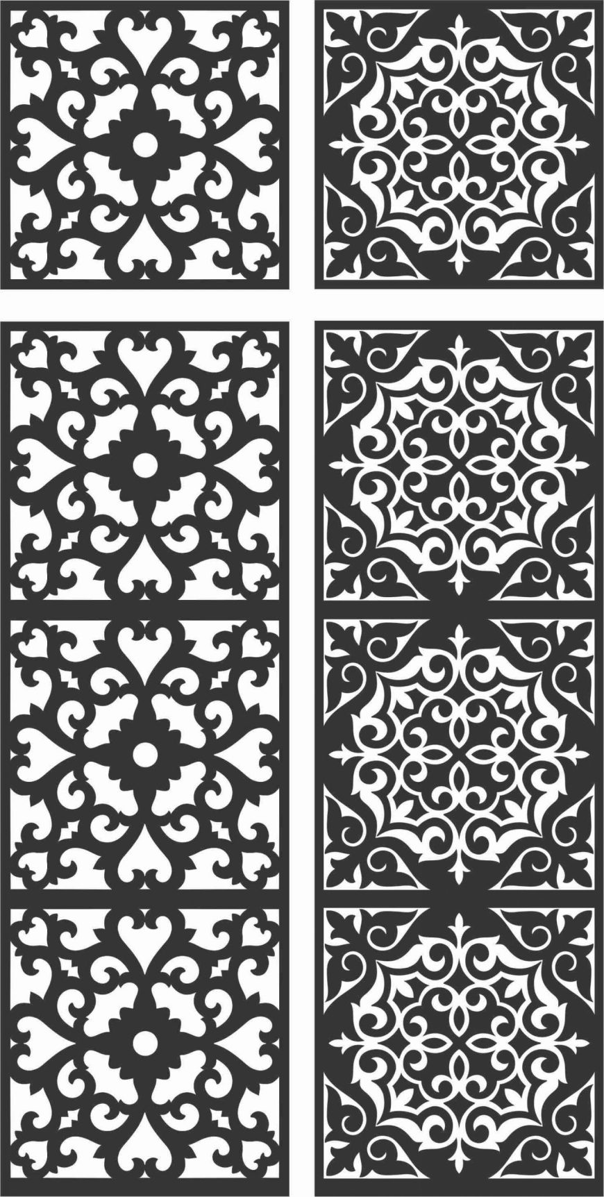 Floral Screen Patterns Design 122 Free DXF File