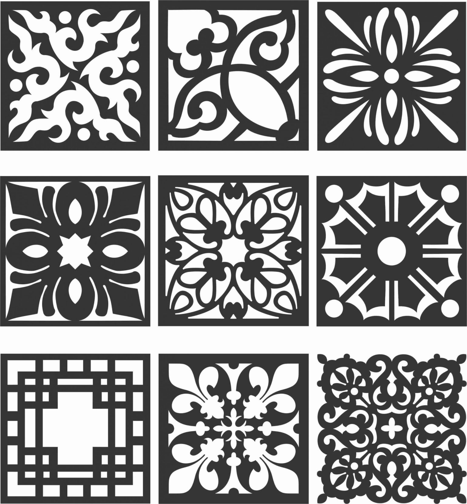 Floral Screen Patterns Design 124 Free DXF File