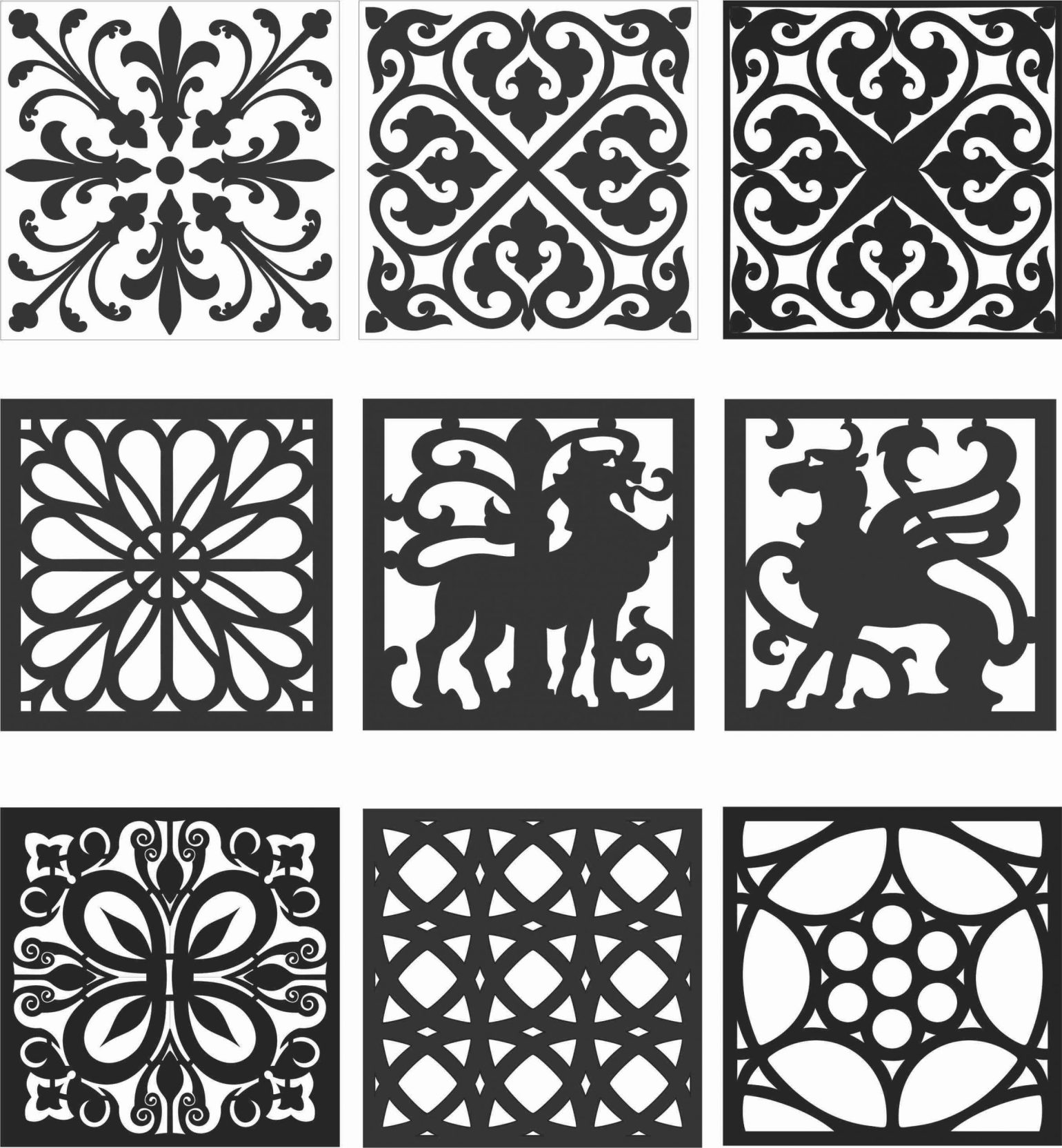 Floral Screen Patterns Design 128 Free DXF File