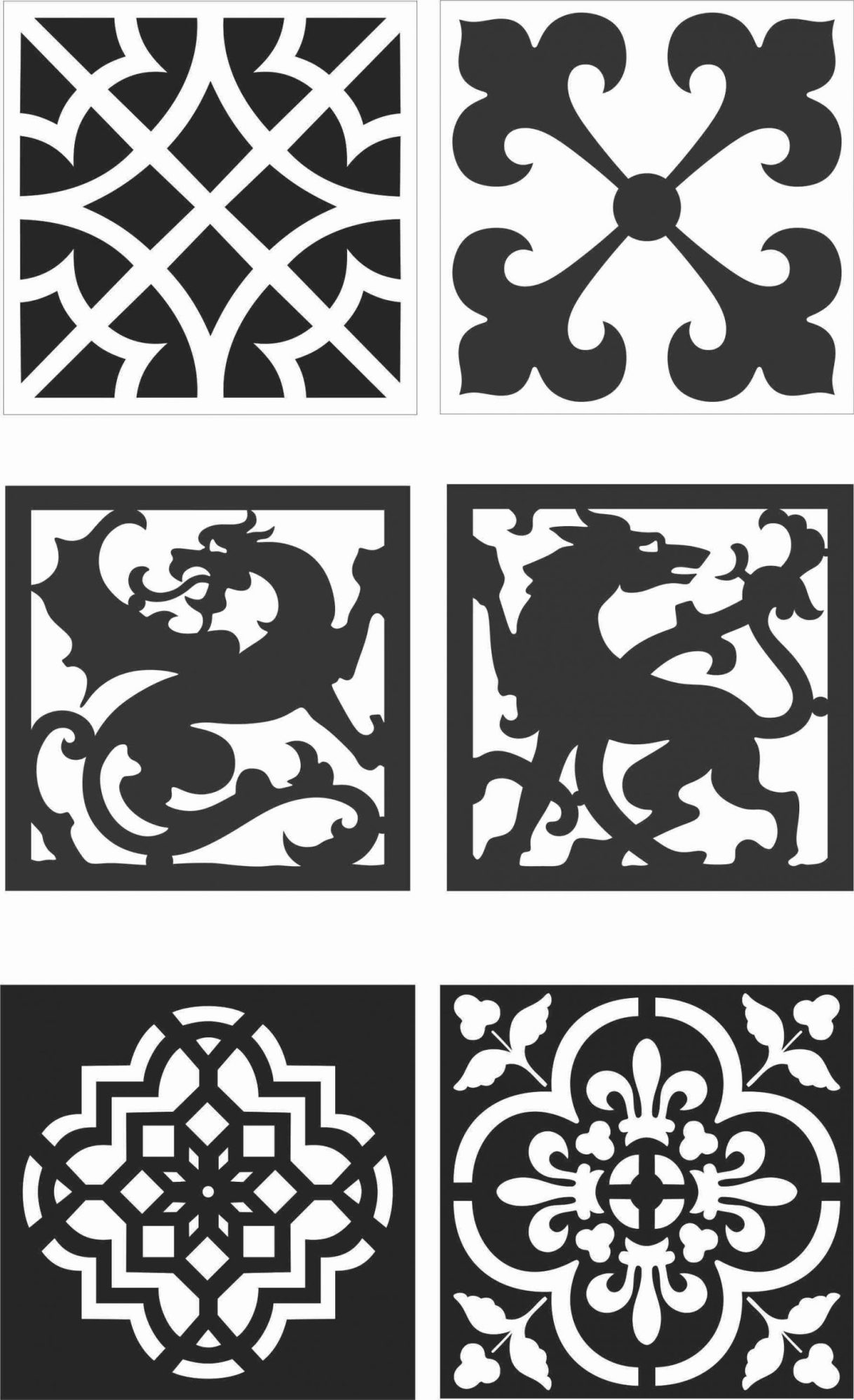 Floral Screen Patterns Design 129 Free DXF File