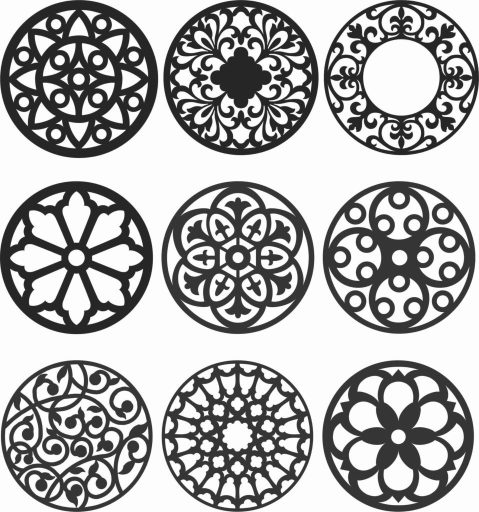 Floral Screen Patterns Design 134 Free DXF File