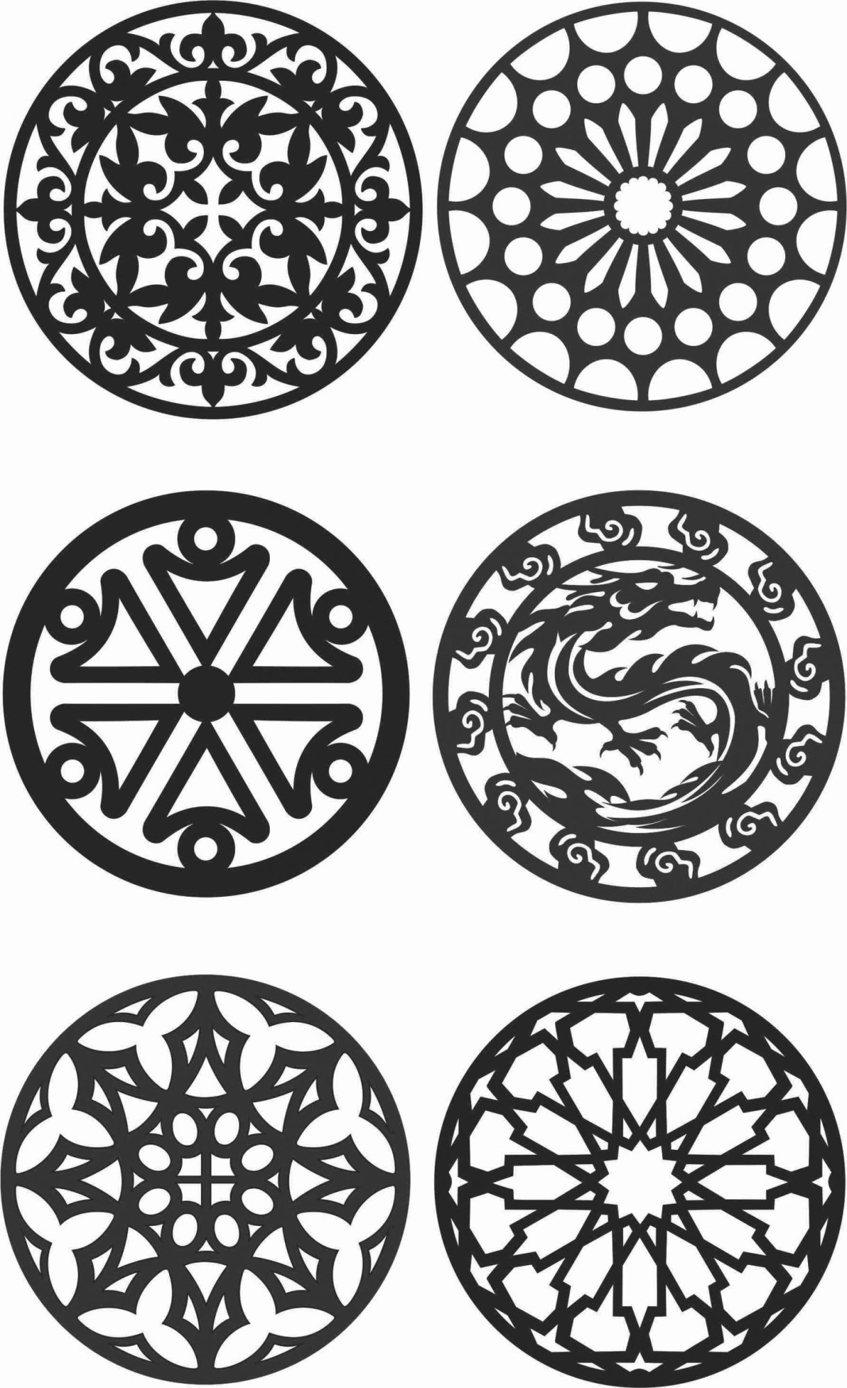 Floral Screen Patterns Design 135 Free DXF File
