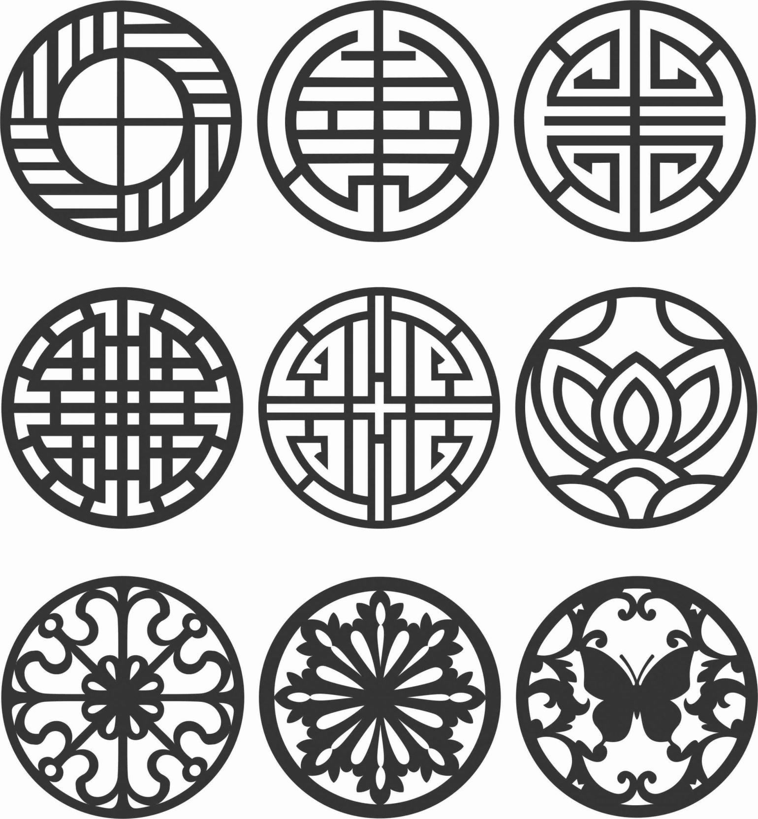 Floral Screen Patterns Design 140 Free DXF File