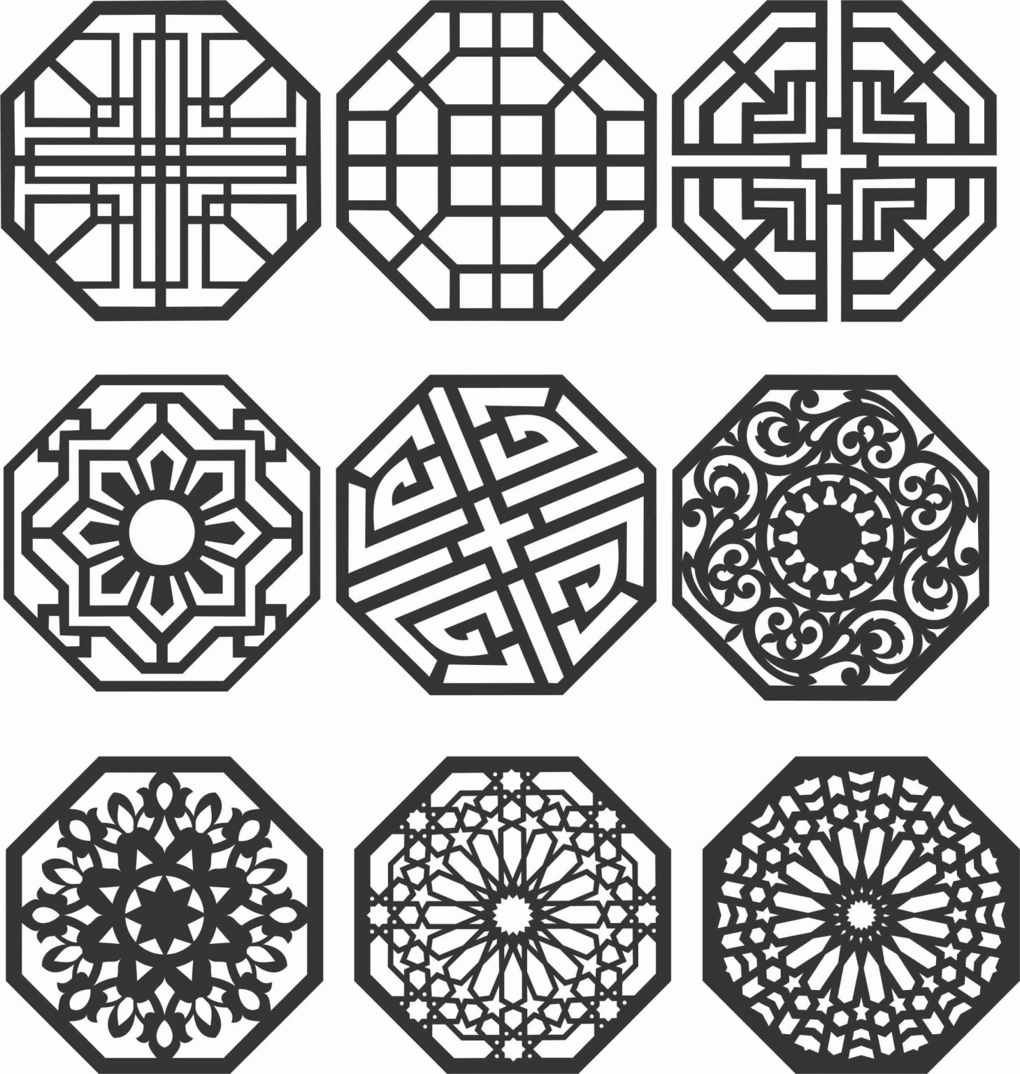 Floral Screen Patterns Design 144 Free DXF File