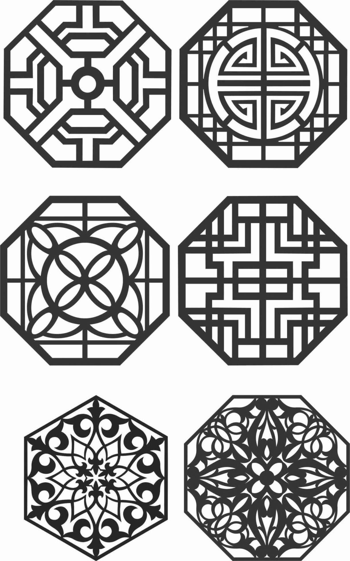 Floral Screen Patterns Design 145 Free DXF File