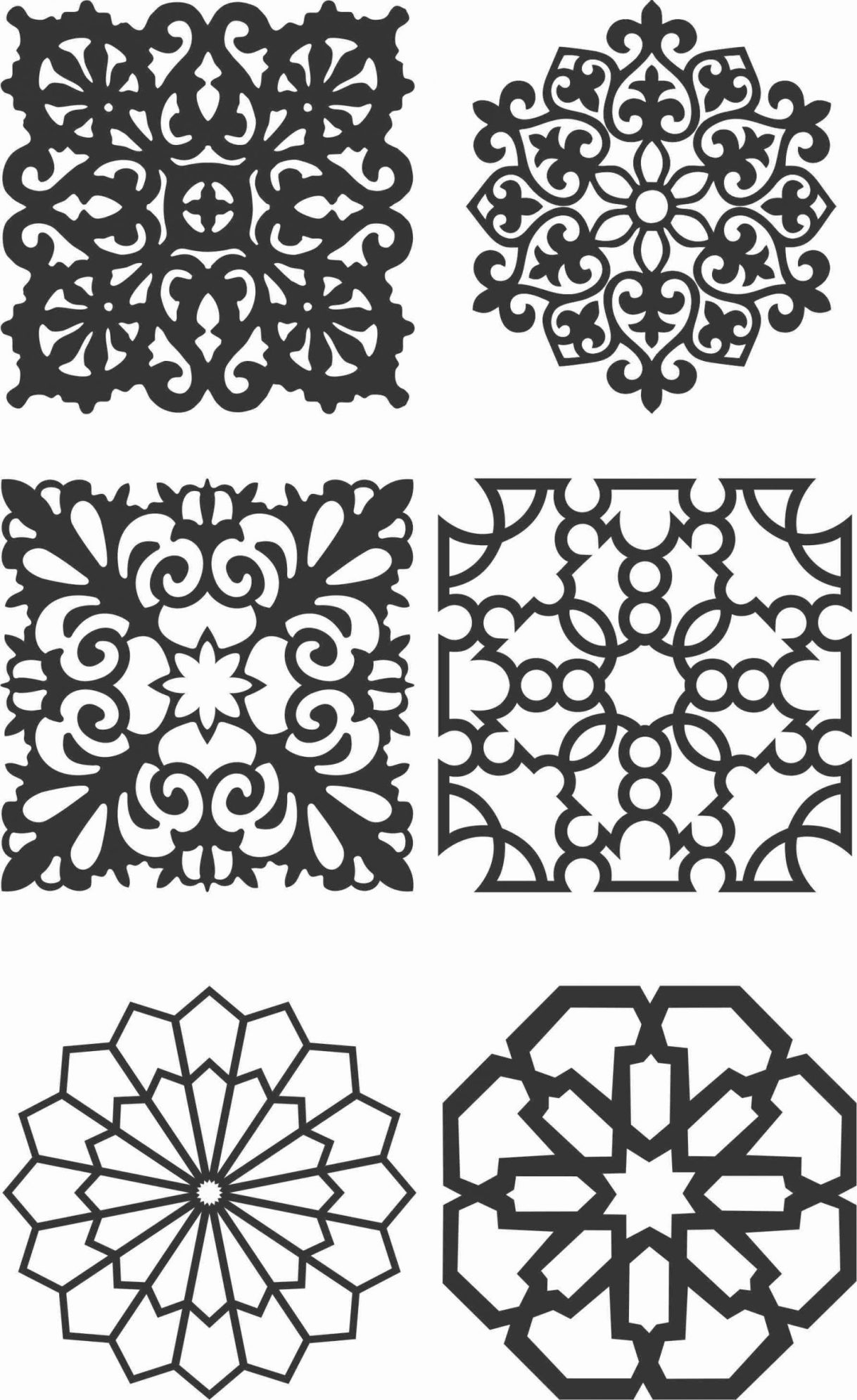 Floral Screen Patterns Design 146 Free DXF File