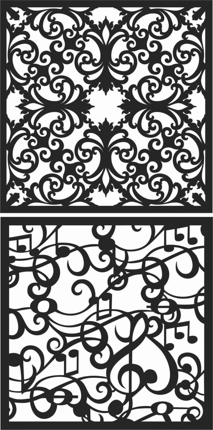 Screen Panel Patterns Seamless 54 Free DXF File