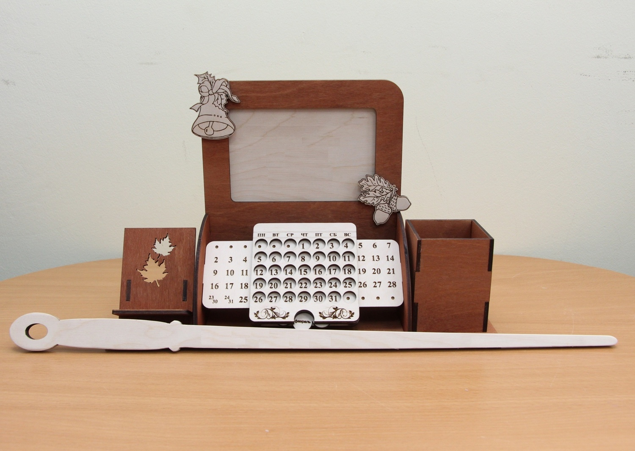 Laser Cut Perpetual Calendar Desk Organizer With Photo Frame Phone Holder Free CDR Vectors Art
