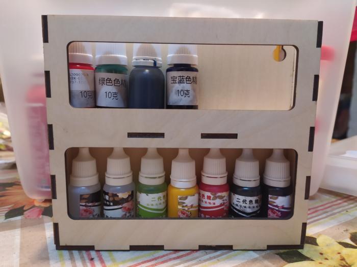 Laser Cut Wooden Pigment Paint Resin Bottle Jar Rack Organizer Wall Mounted Storage Shelf Free CDR Vectors Art