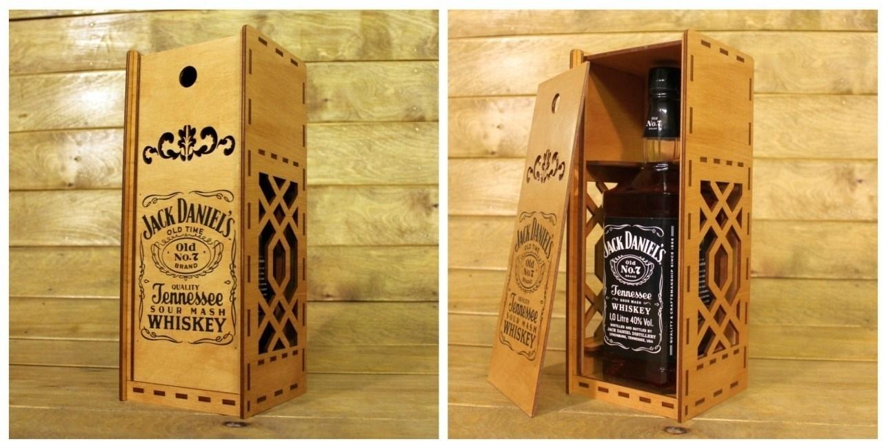 Laser Cut Jack Daniels Whisky Wooden Box Free CDR Vectors Art