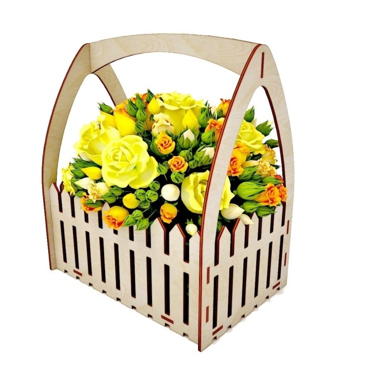 Laser Cut Wooden Flower Box Basket With Fence 4mm Free CDR Vectors Art