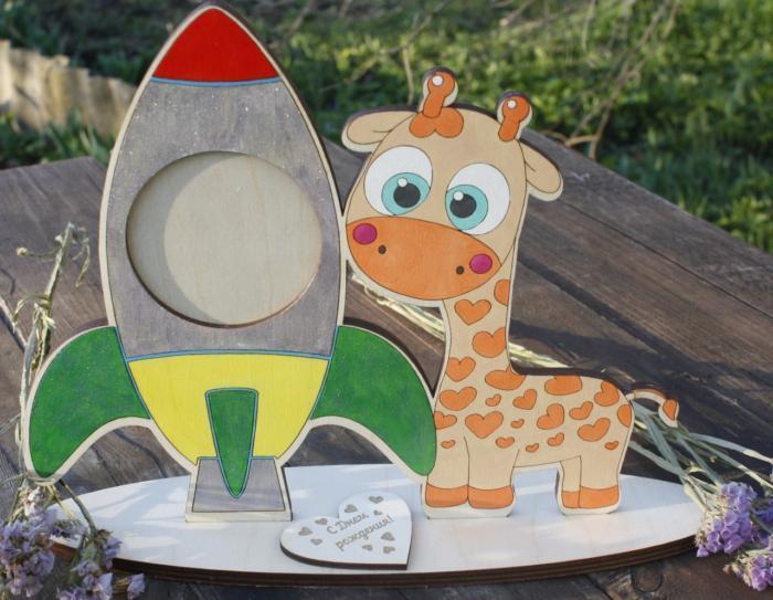 Laser Cut Baby Giraffe Photo Frame Rocket Picture Frame Free CDR Vectors Art