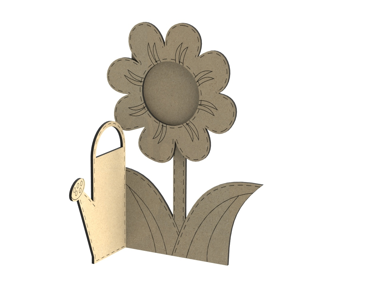 Laser Cut Photo Frame Watering Can With Flower Free CDR Vectors Art