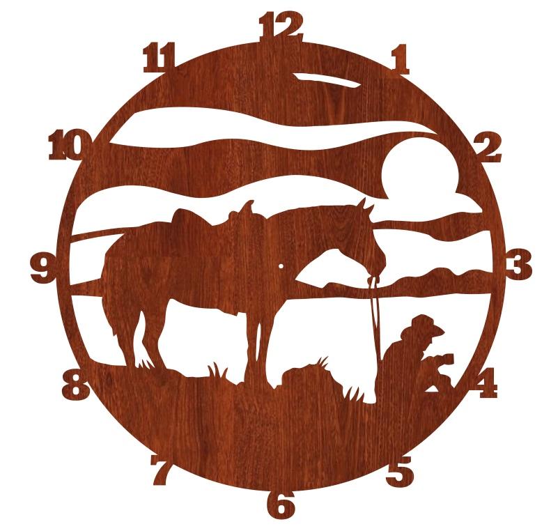 Laser Cut Cowboy Wall Clock Western Horse Clock Free CDR Vectors Art