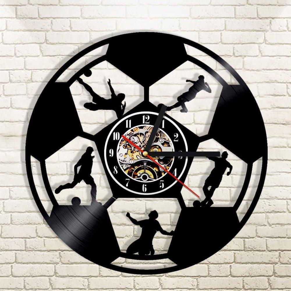 Laser Cut Football Wall Clock Sport Wall Clock Gift For Soccer Lover Footballer Free CDR Vectors Art